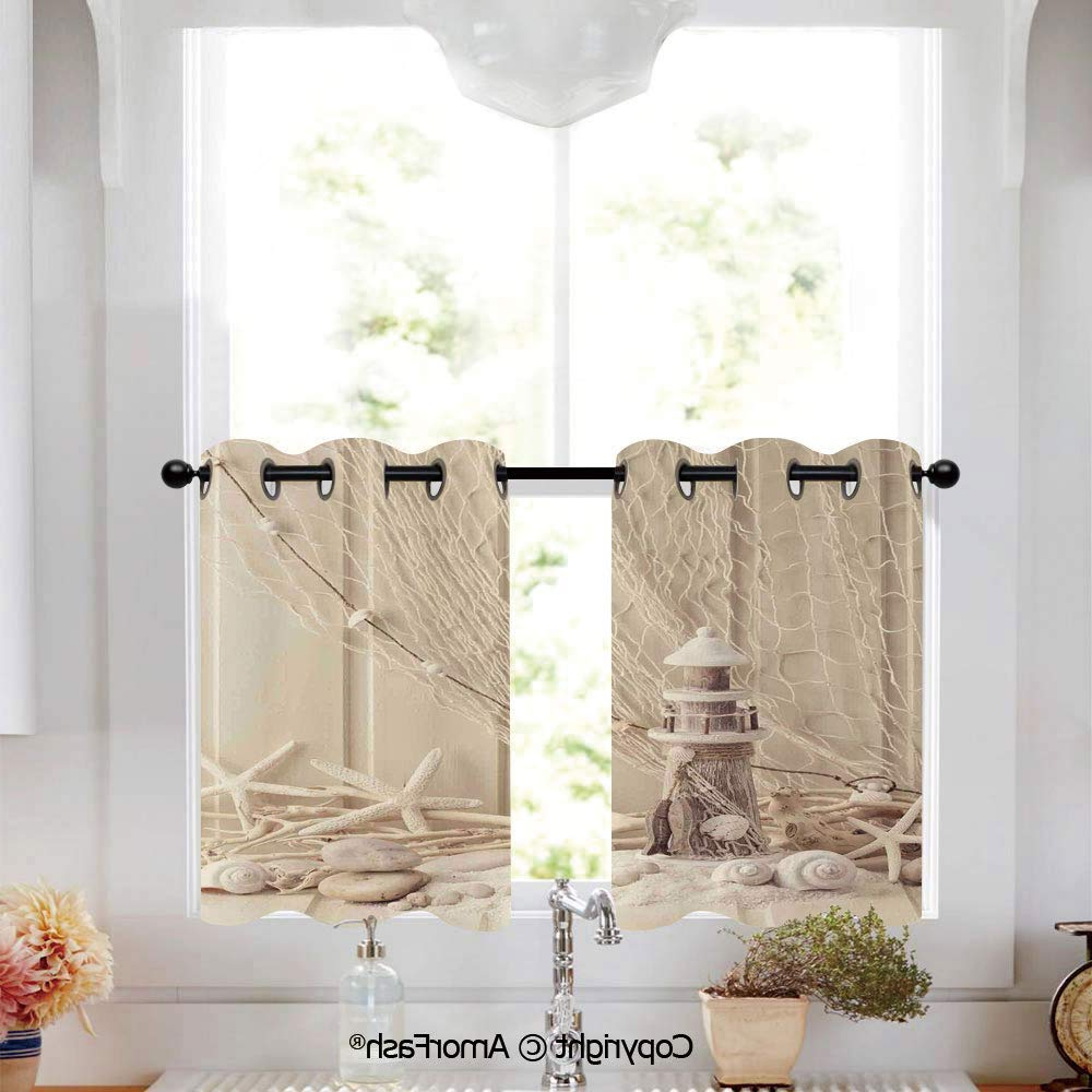 Amazon: Putien Fishing Net Decor Cafe Curtains Lattice Pertaining To Current Classic Kitchen Curtain Sets (View 3 of 20)