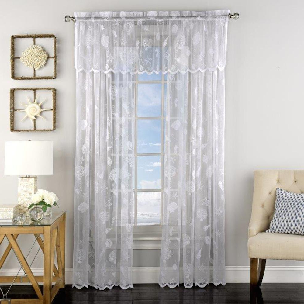 Amazon: Reef Lace Rod Pocket Tier Curtain 36l,white Throughout Latest Marine Life Motif Knitted Lace Window Curtain Pieces (View 19 of 20)
