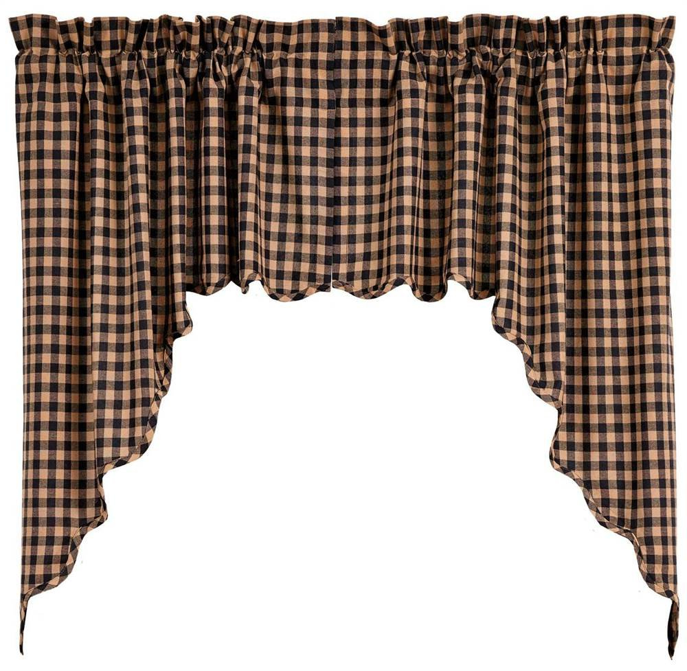 Amazon: Scalloped Swag In Black And Tan – Set Of 2: Home In Trendy Check Scalloped Swag Sets (View 3 of 20)