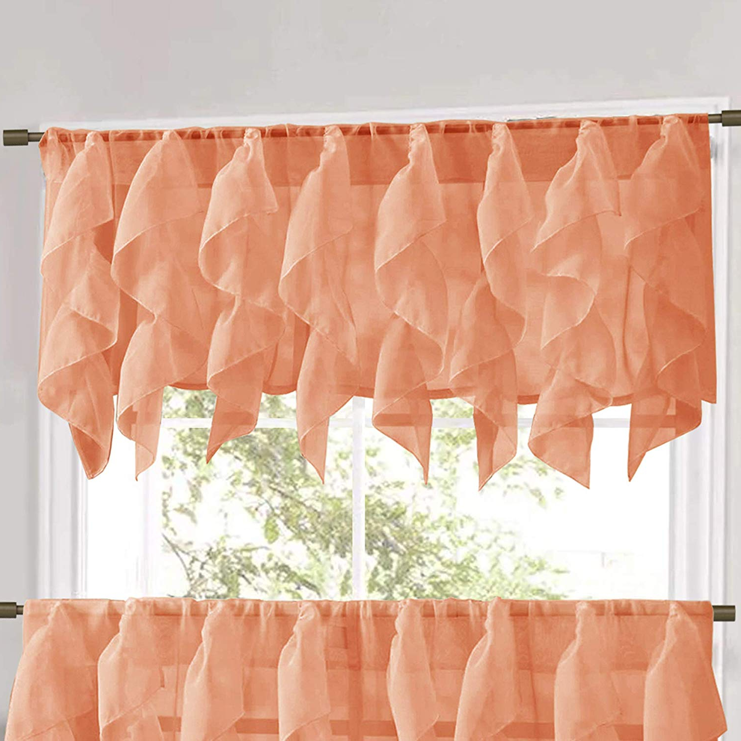 Amazon: Sweet Home Collection Veritcal Kitchen Curtain Regarding Most Popular Maize Vertical Ruffled Waterfall Valance And Curtain Tiers (View 10 of 20)