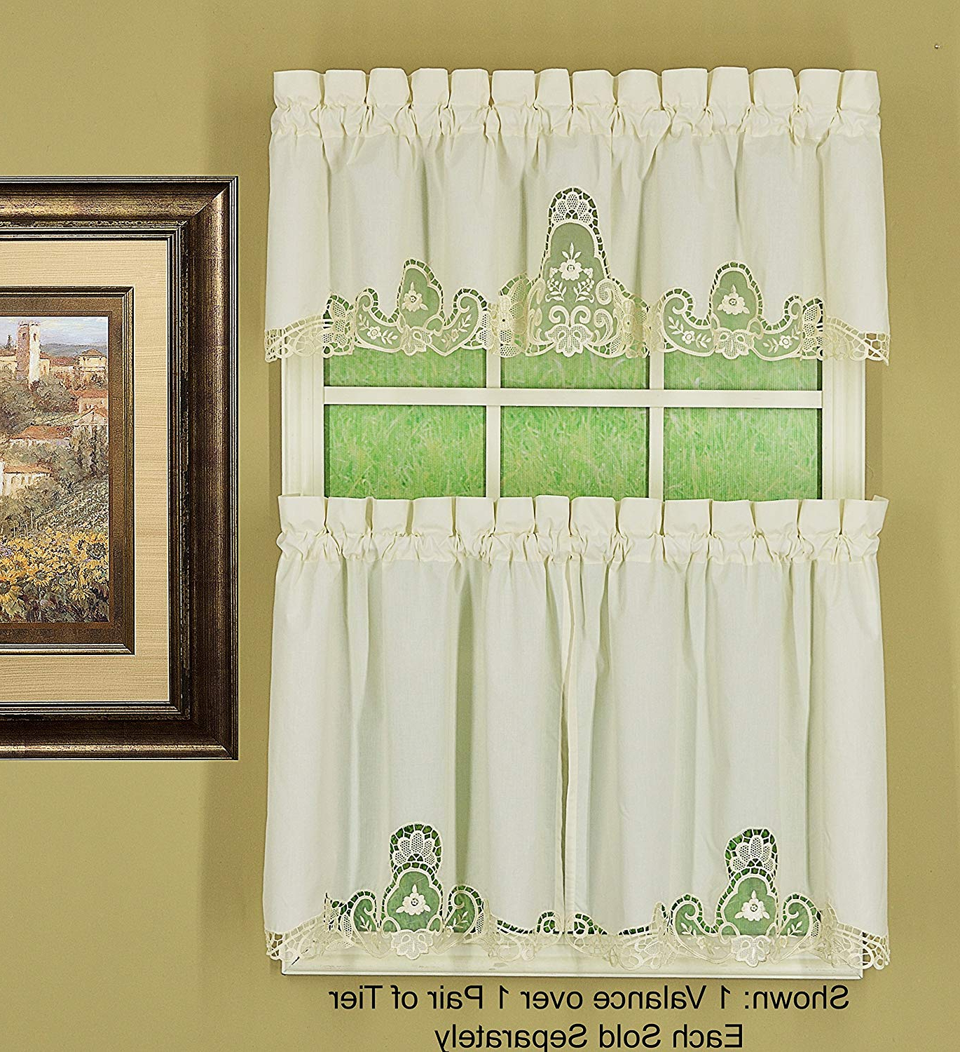 "Amazon: Today's Curtain Annabelle 14"" L Valance Macrame Within Widely Used Cotton Classic Toast Window Pane Pattern And Crotchet Trim Tiers (View 11 of 20)"