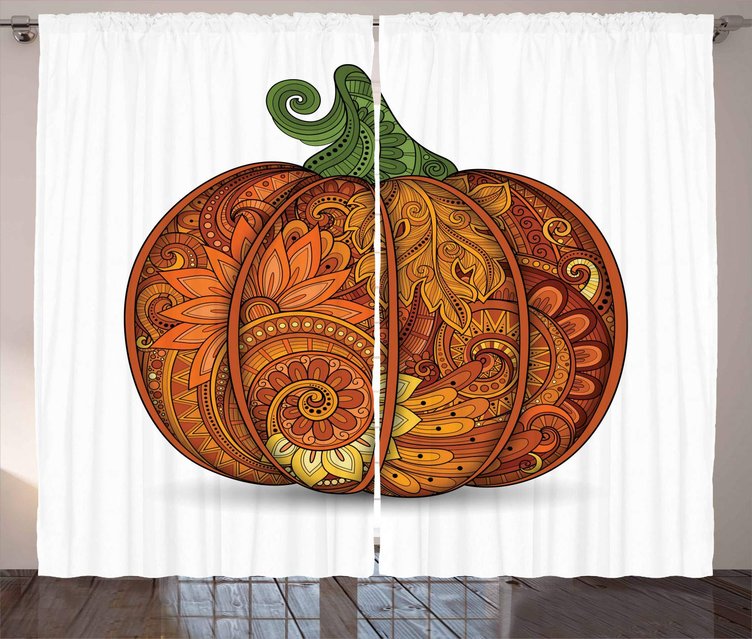 Ambesonne Vegetable Curtains, Thanksgiving Symbol Ethnic Pumpkin With Flowers Paisley Mandala Forms, Living Room Bedroom Window Drapes 2 Panel Set, Within Newest Window Curtains Sets With Colorful Marketplace Vegetable And Sunflower Print (View 15 of 20)