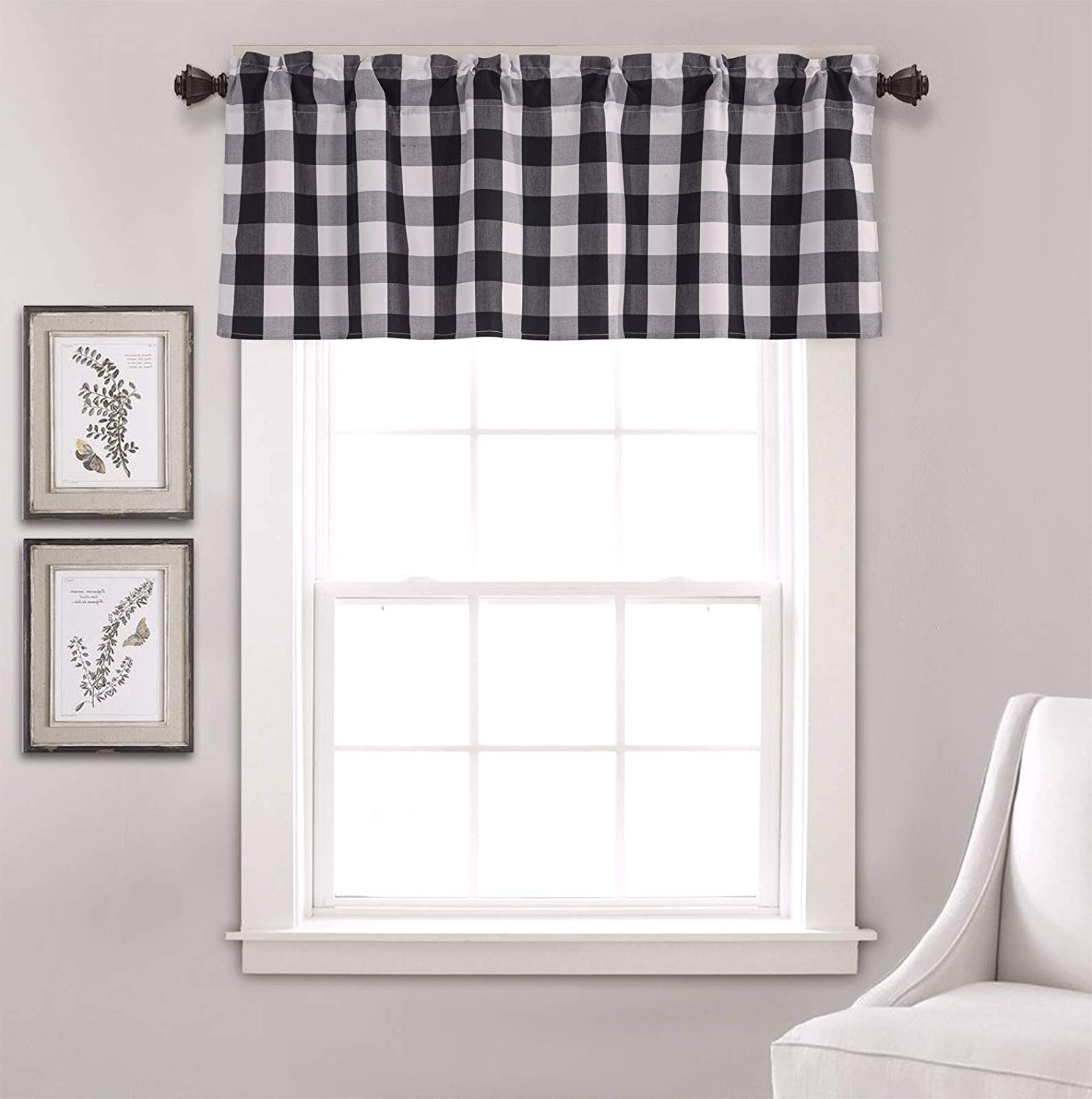 Annlaite Buffalo Checker Farmhouse Thermal Insulated Energy Saving Window Curtain Valance For Living Room/bedroom/kitchen Rod Pocket Valance 5218 For Widely Used Grandin Curtain Valances In Black (View 8 of 20)