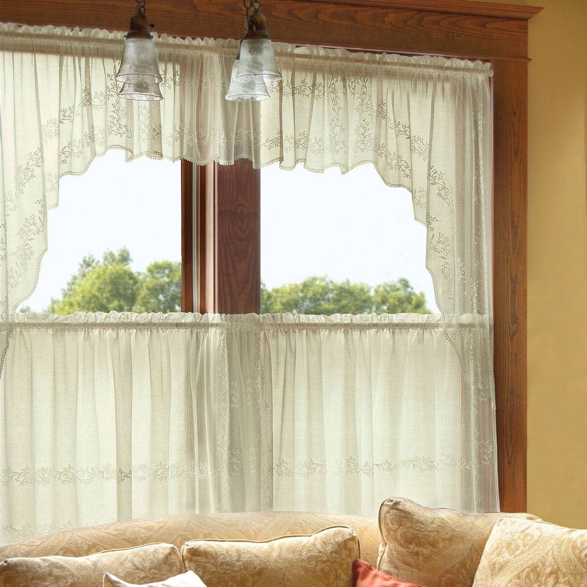 Appealing Lace Curtain Valances And Tiers Ideas Kitchen For Best And Newest Solid Microfiber 3 Piece Kitchen Curtain Valance And Tiers Sets (View 17 of 20)