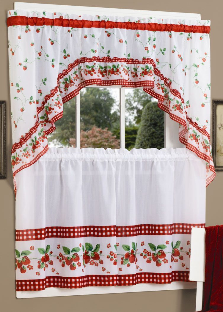 Apple Orchard Printed Kitchen Tier Sets In Favorite Strawberry Vine Is A Gorgeous Fruit Theme Tier & Swag Set (View 2 of 20)