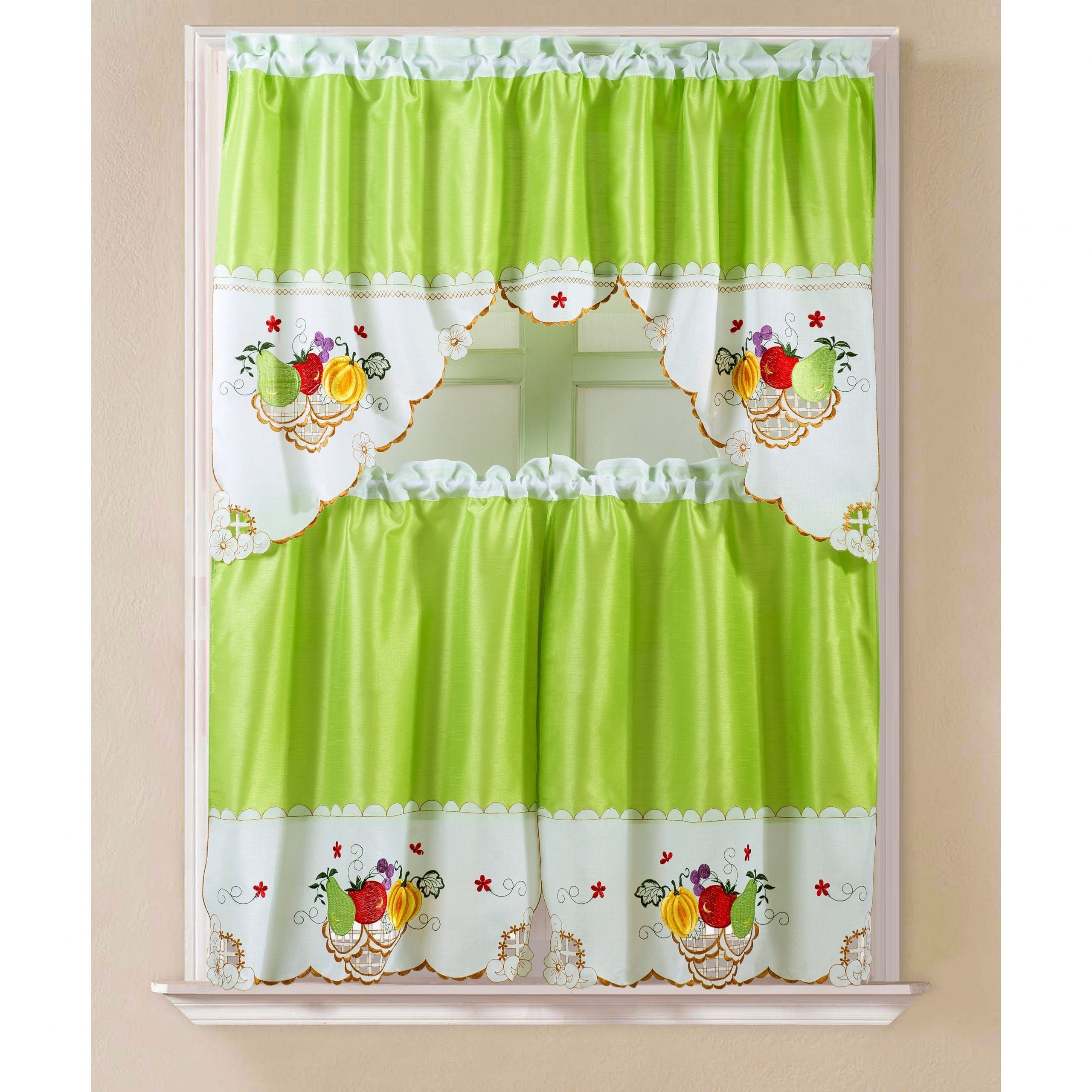 Apple Orchard Printed Kitchen Tier Sets Intended For Most Recent Porch & Den Eastview Faux Silk 3 Piece Kitchen Curtain Set (View 5 of 20)