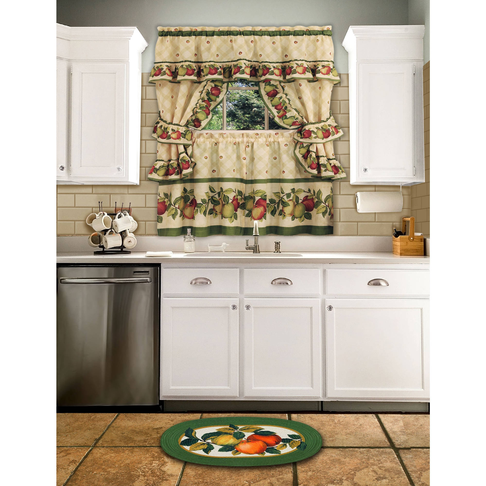 Apple Orchard Printed Kitchen Tier Sets With Regard To Trendy Cottage Kitchen Curtain And Swag Set, Apple Orchard (View 15 of 20)