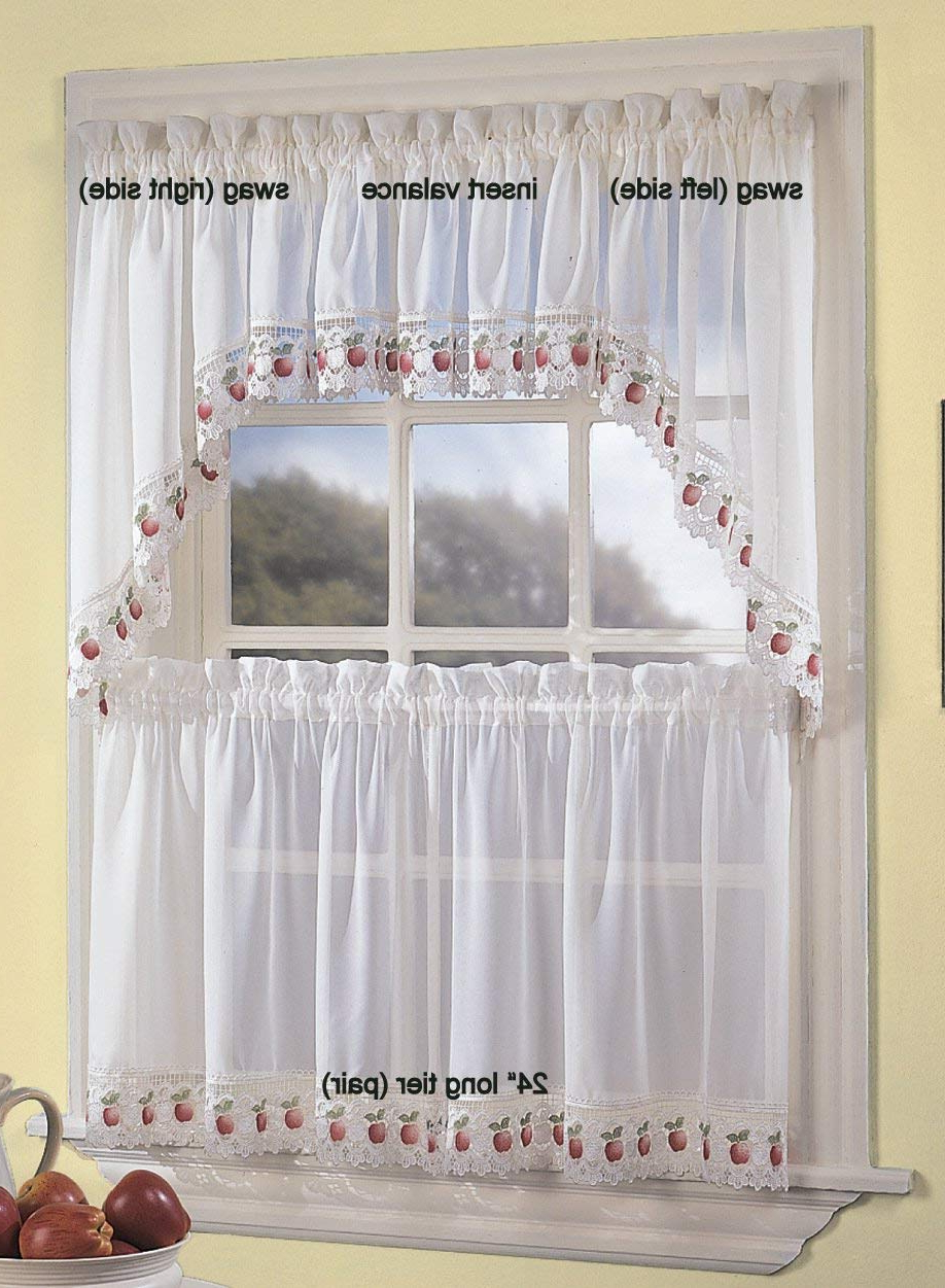 Apple Orchard Sheer Tier Curtains – Everything Log Homes Regarding Well Liked Sheer Lace Elongated Kitchen Curtain Tier Pairs (View 4 of 20)