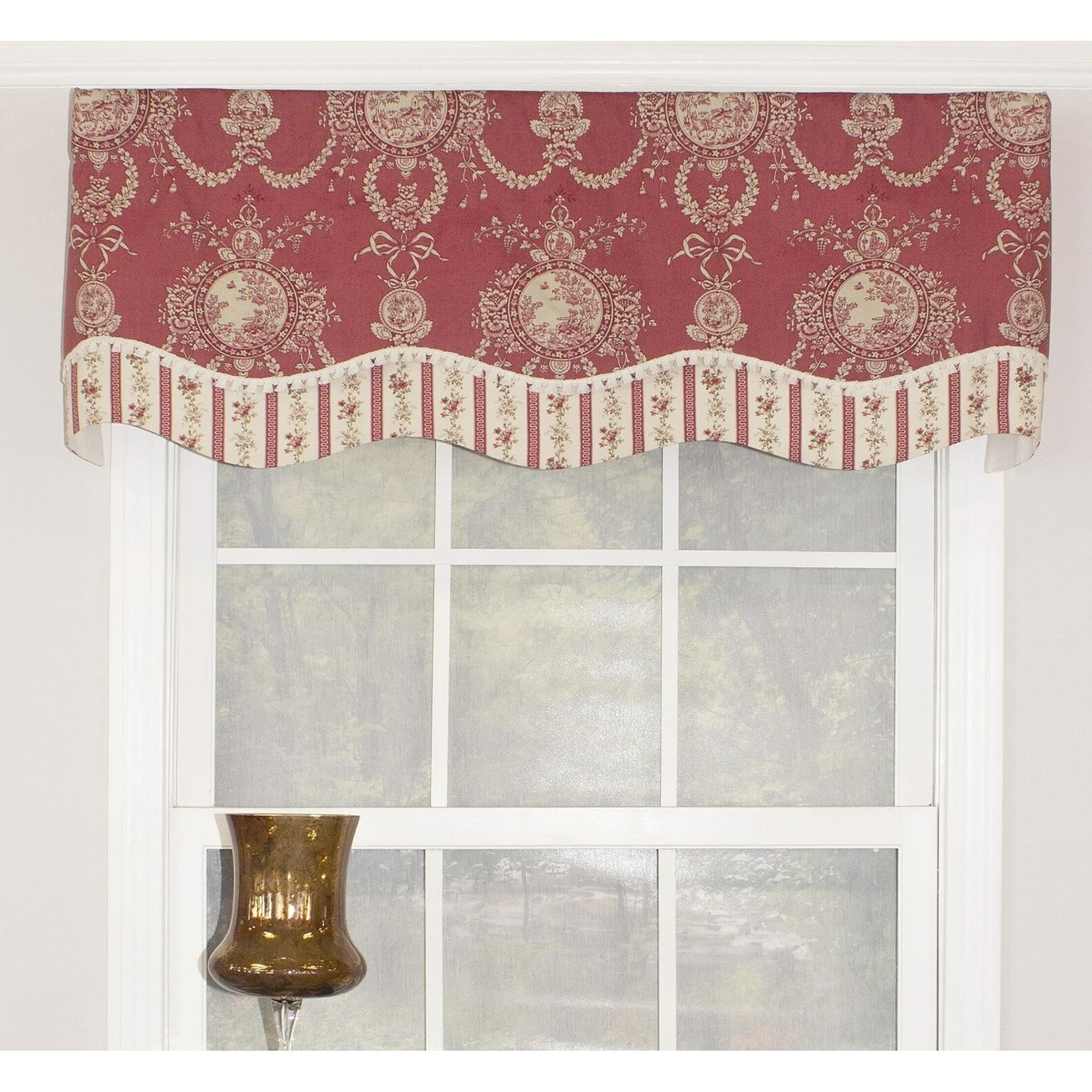 "Aviary Window Curtains For 2020 Rlf Home Cameo Toile Glory 50"" Window Valance – Red Red, Cream, Off White Horizo (View 14 of 20)"