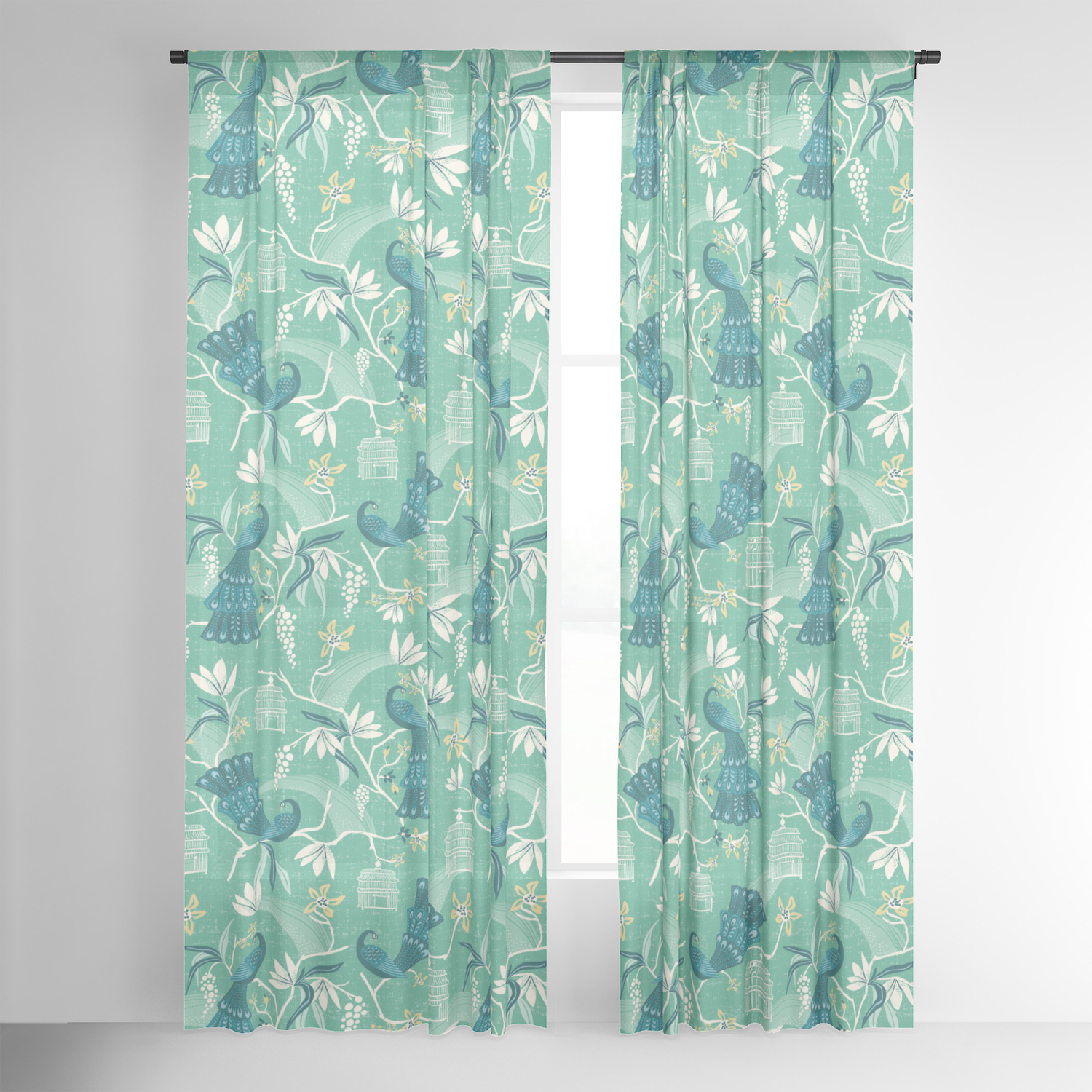 Aviary Window Curtains Pertaining To Current Aviary – Green Sheer Curtainheatherduttonhangtightstudio (View 15 of 20)