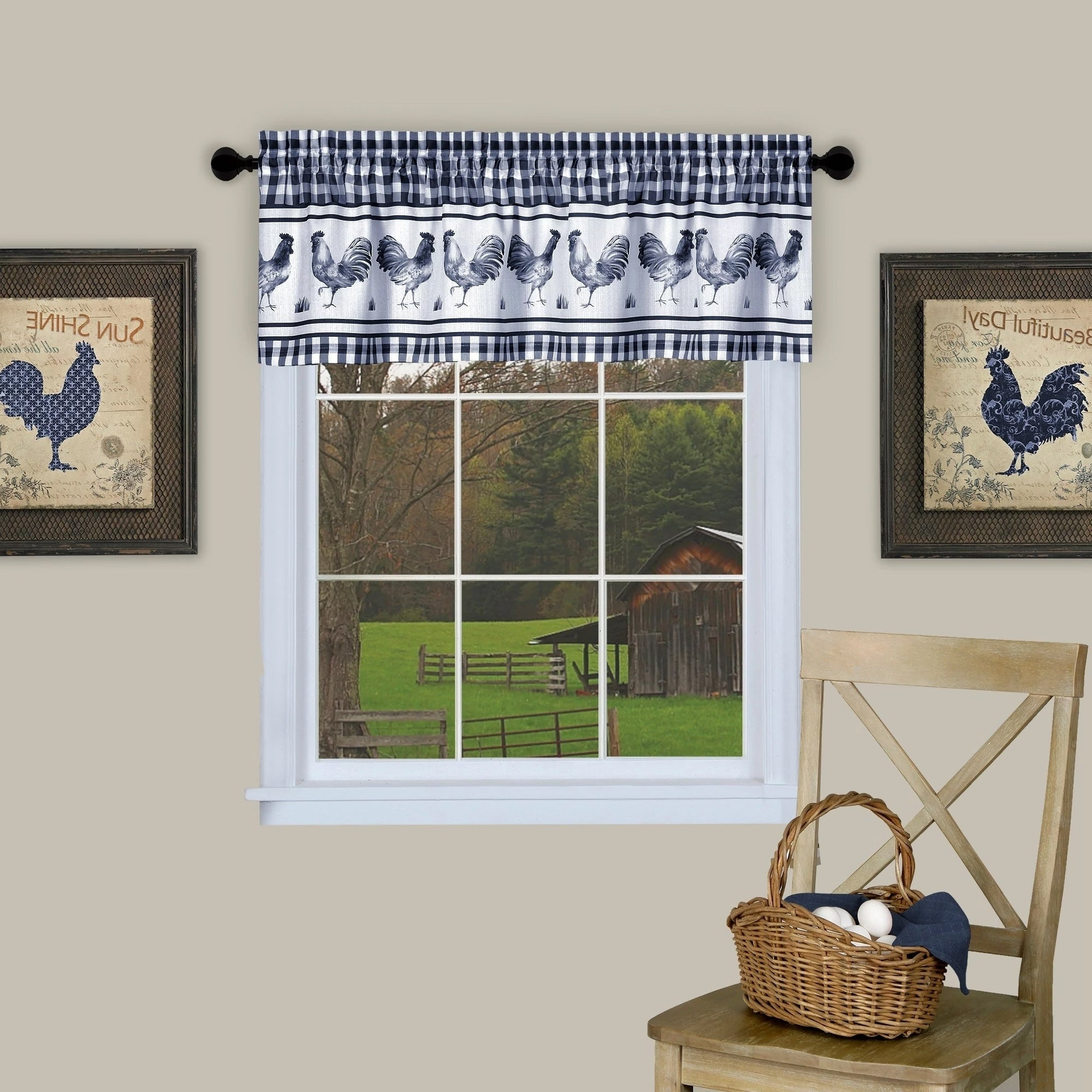 Featured Photo of Barnyard Buffalo Check Rooster Window Valances