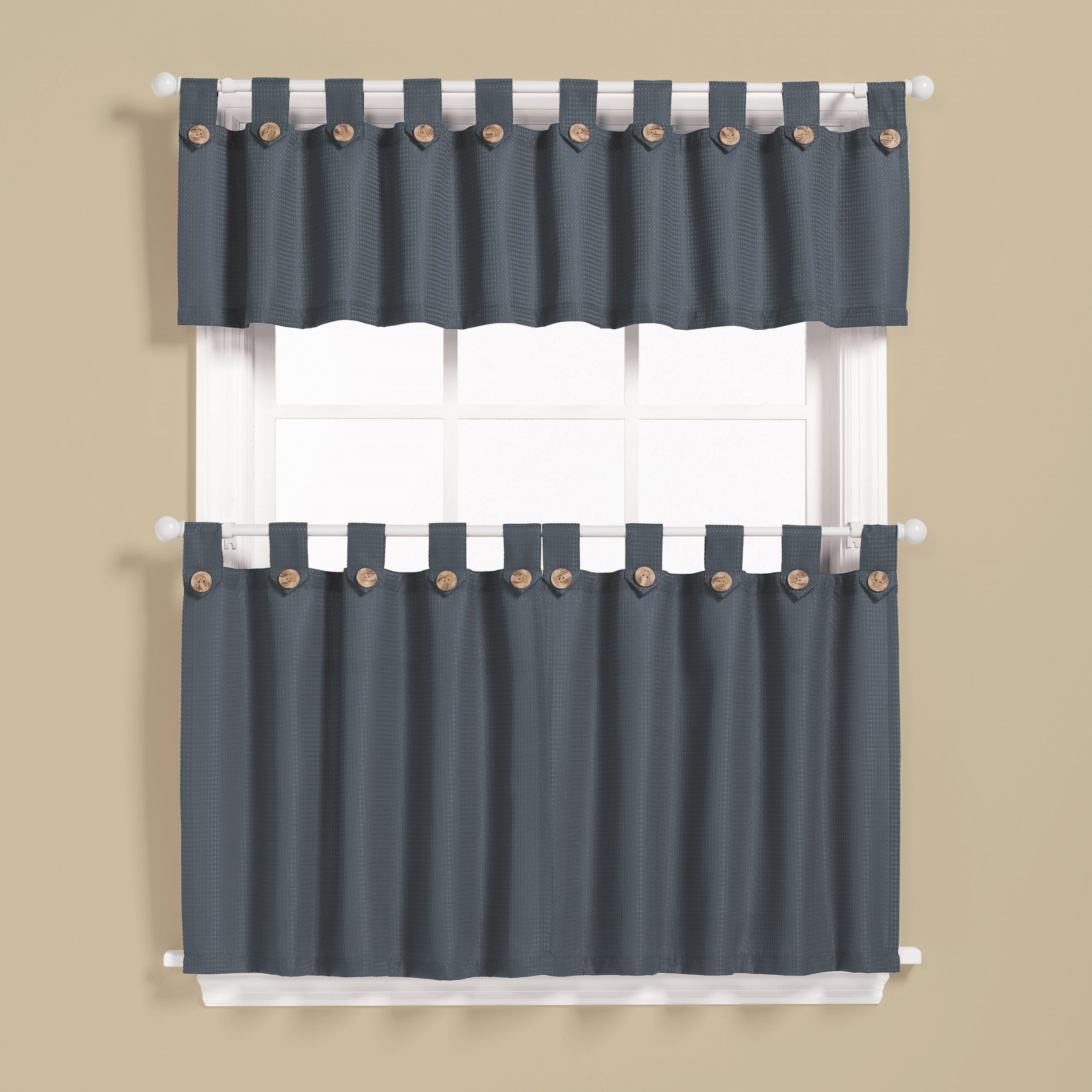 Barnyard Window Curtain Tier Pair And Valance Sets Intended For 2020 Saturday Knight Pacifica Window Curtain Tier Pair And Valance Set 36 Inch (View 14 of 20)