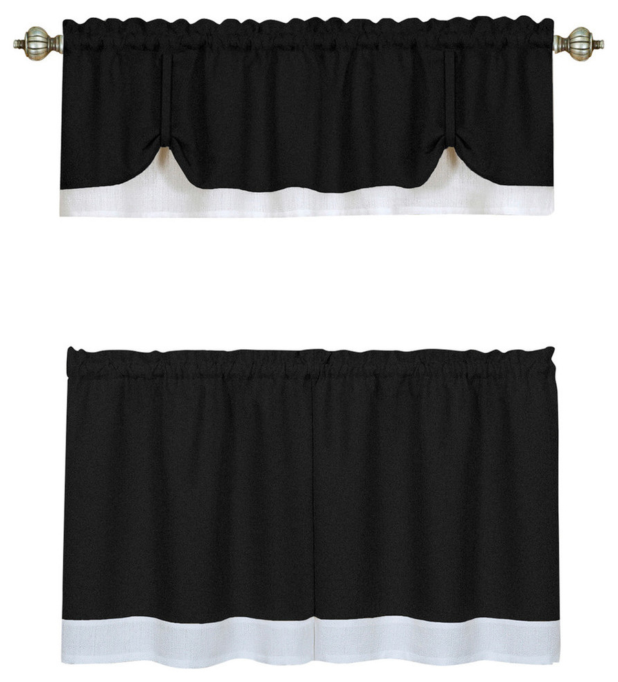 """Barnyard Window Curtain Tier Pair And Valance Sets Intended For Popular Darcy Window Curtain Tier And Valance Set 58""""x24""""/58""""x14"""", Black/white (View 11 of 20)"""