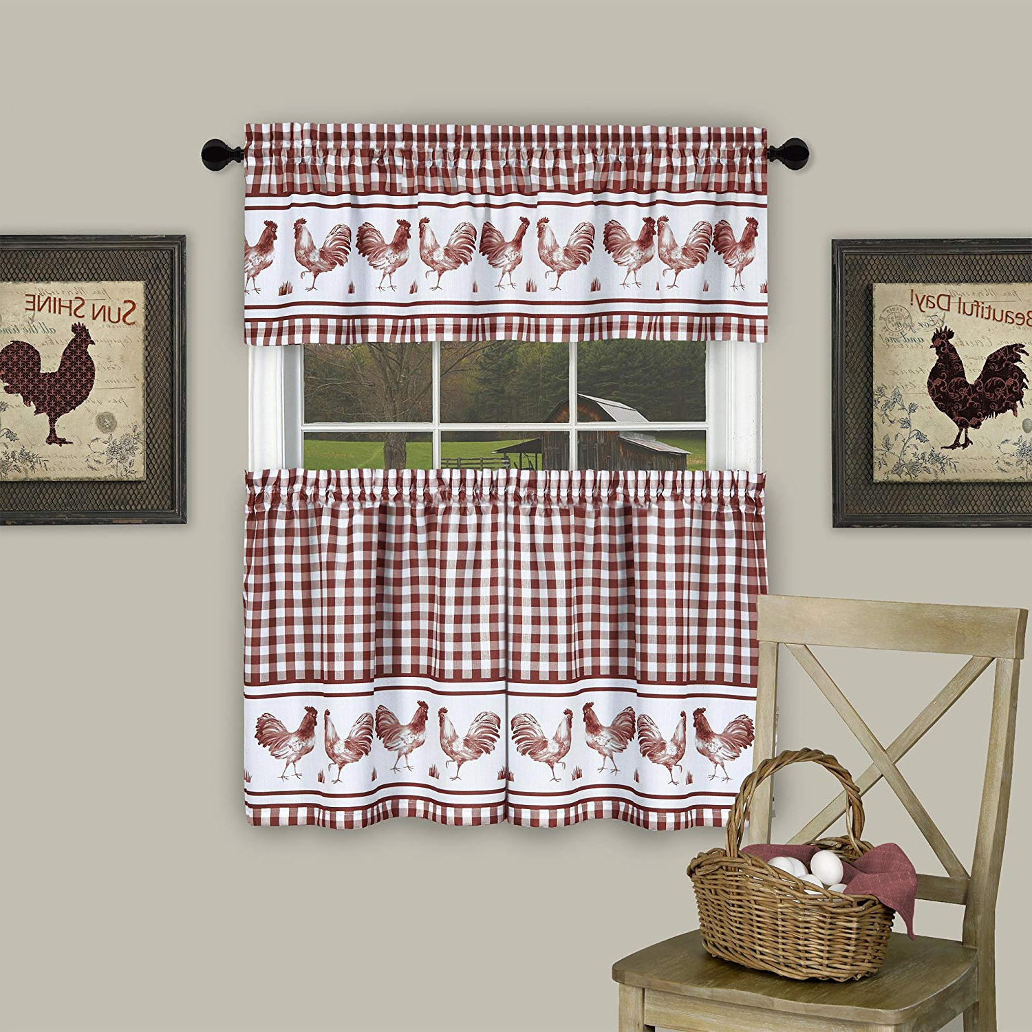 """Barnyard Window Curtain Tier Pair And Valance Sets Within Most Current Achim Home Furnishings Barnyard Window Curtain Tier Pair And Valance Set, 58"""" X 24"""", Taupe (View 2 of 20)"""
