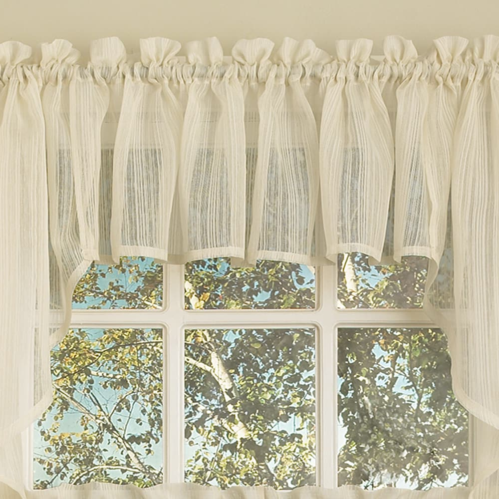 Bed Bath N More Ivory Micro Striped Semi Sheer Window Curtain Pieces – Tiers, Valance And Swag Options In Trendy Ivory Micro Striped Semi Sheer Window Curtain Pieces (View 2 of 20)