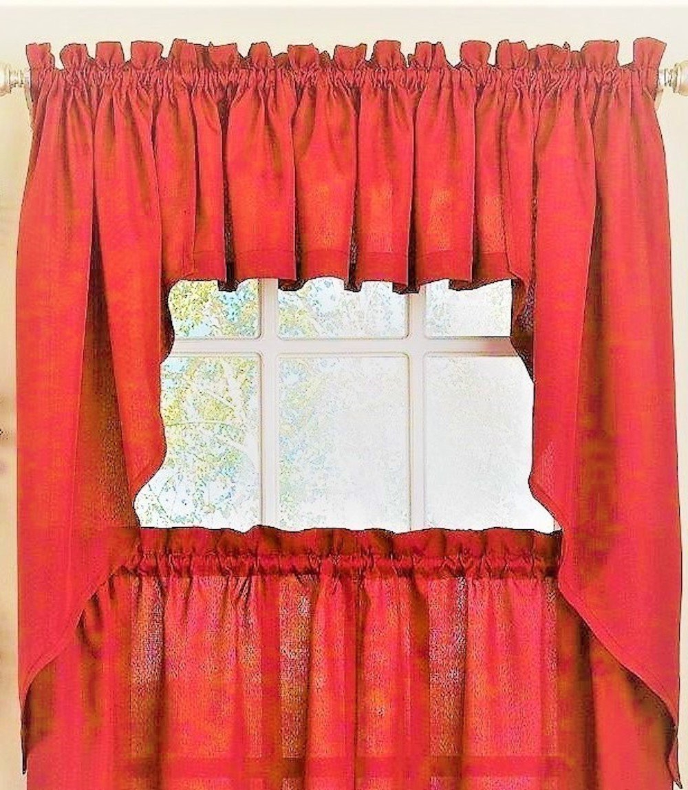 Bermuda Ruffle Kitchen Curtain Tier Sets Inside Newest Amazon: Ribcord Solid Color Kitchen Curtain Tier Pair (View 2 of 20)