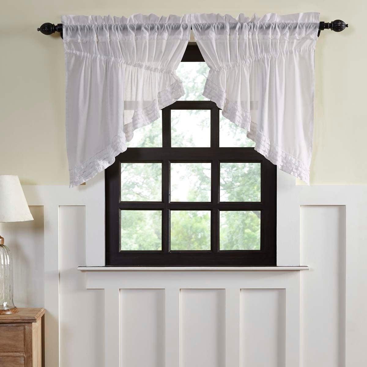 Bermuda Ruffle Kitchen Curtain Tier Sets Regarding Latest Details About White Farmhouse Kitchen Curtains Vhc White Ruffled Sheer Soft  White 36X (View 4 of 20)