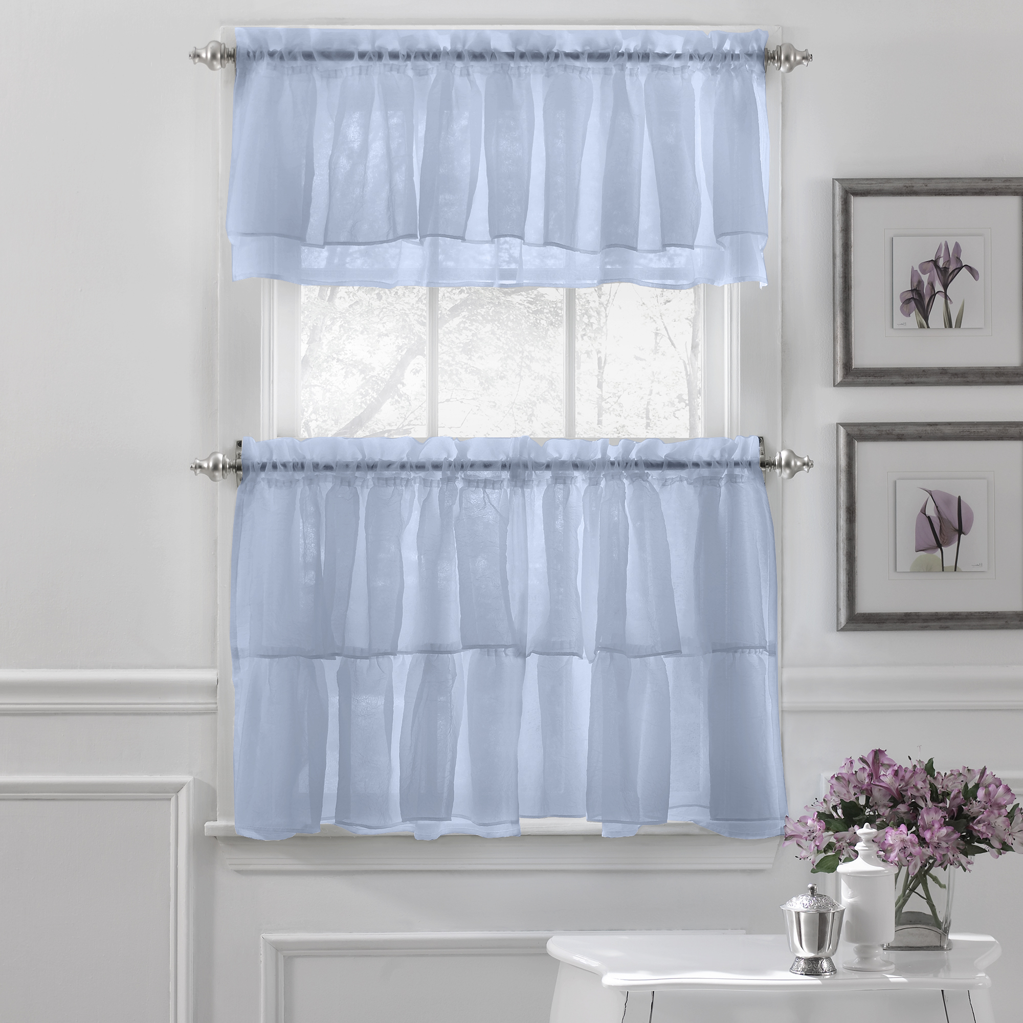 Bermuda Ruffle Kitchen Curtain Tier Sets With Current Details About Gypsy Crushed Voile Ruffle Kitchen Window Curtain Tiers Or  Valance Blue (View 6 of 20)