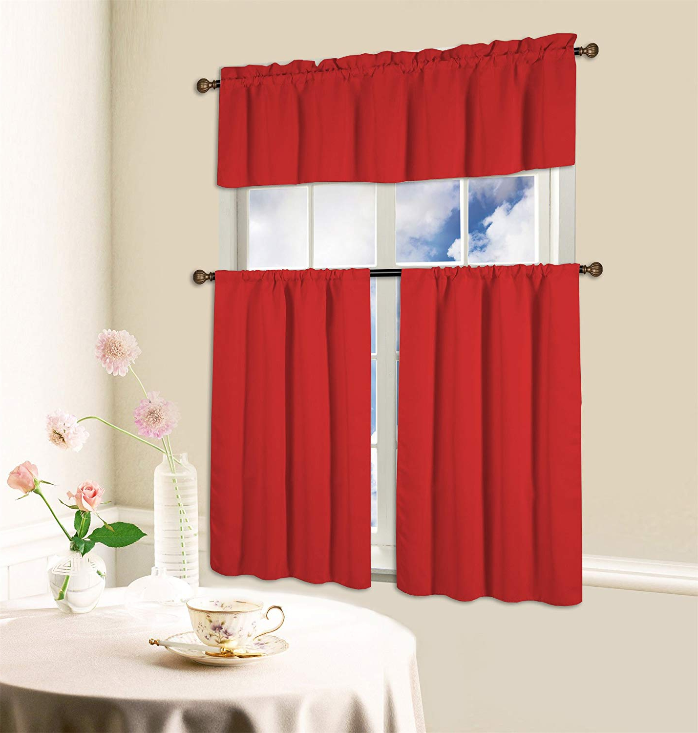Bermuda Ruffle Kitchen Curtain Tier Sets Within Well Known Kashi Home 3 Piece Blackout Kitchen Curtain Set, Beth (Ruby) (View 8 of 20)