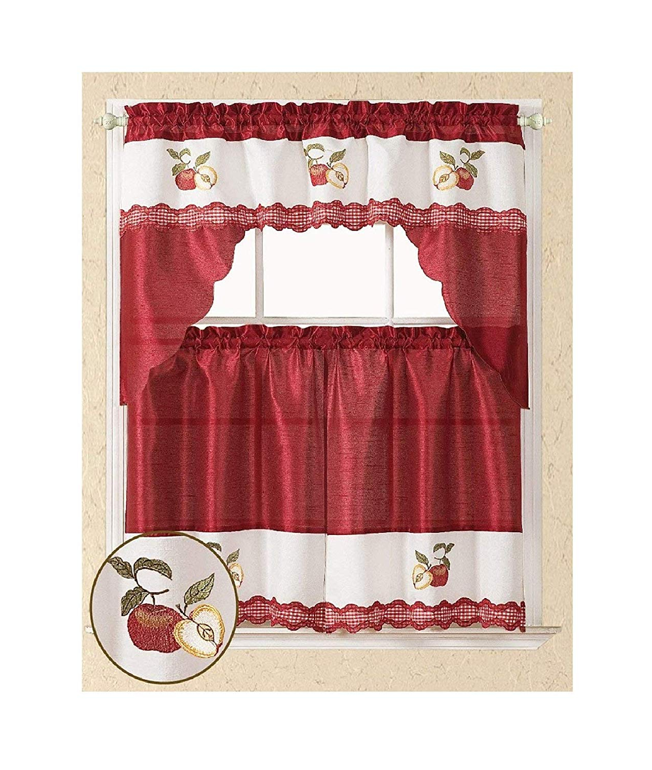 Best And Newest All American Collection Modern Embroidered 3pc Kitchen Curtain Set (swag Valance, Red Apples) Inside Red Delicious Apple 3 Piece Curtain Tiers (View 16 of 20)