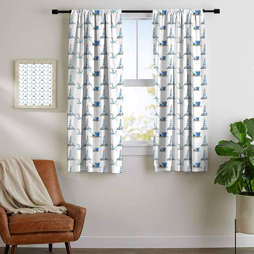 Best And Newest Amazon: Mozenou Lighthouse, Curtains Printed, Hand Drawn Within Vintage Sea Shore All Over Printed Window Curtains (View 4 of 20)