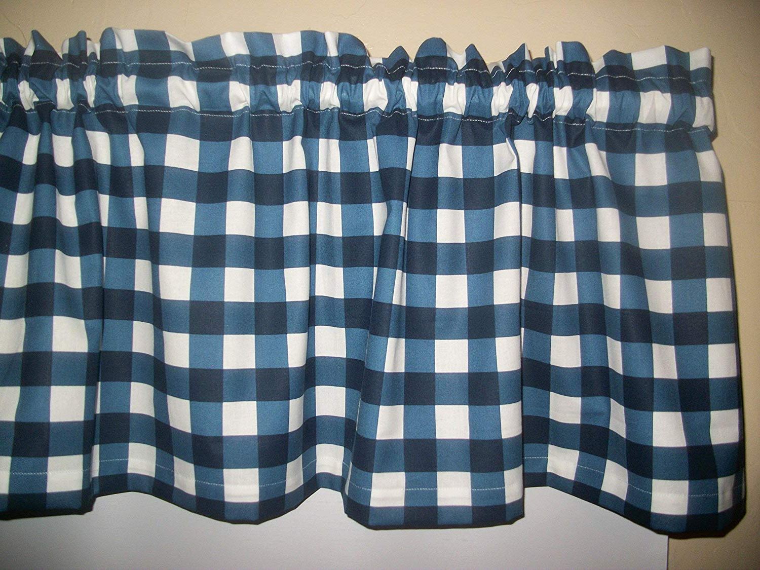 Best And Newest Amazon: Navy Blue White Plaid Buffalo Checked Checks Regarding Barnyard Buffalo Check Rooster Window Valances (View 11 of 20)
