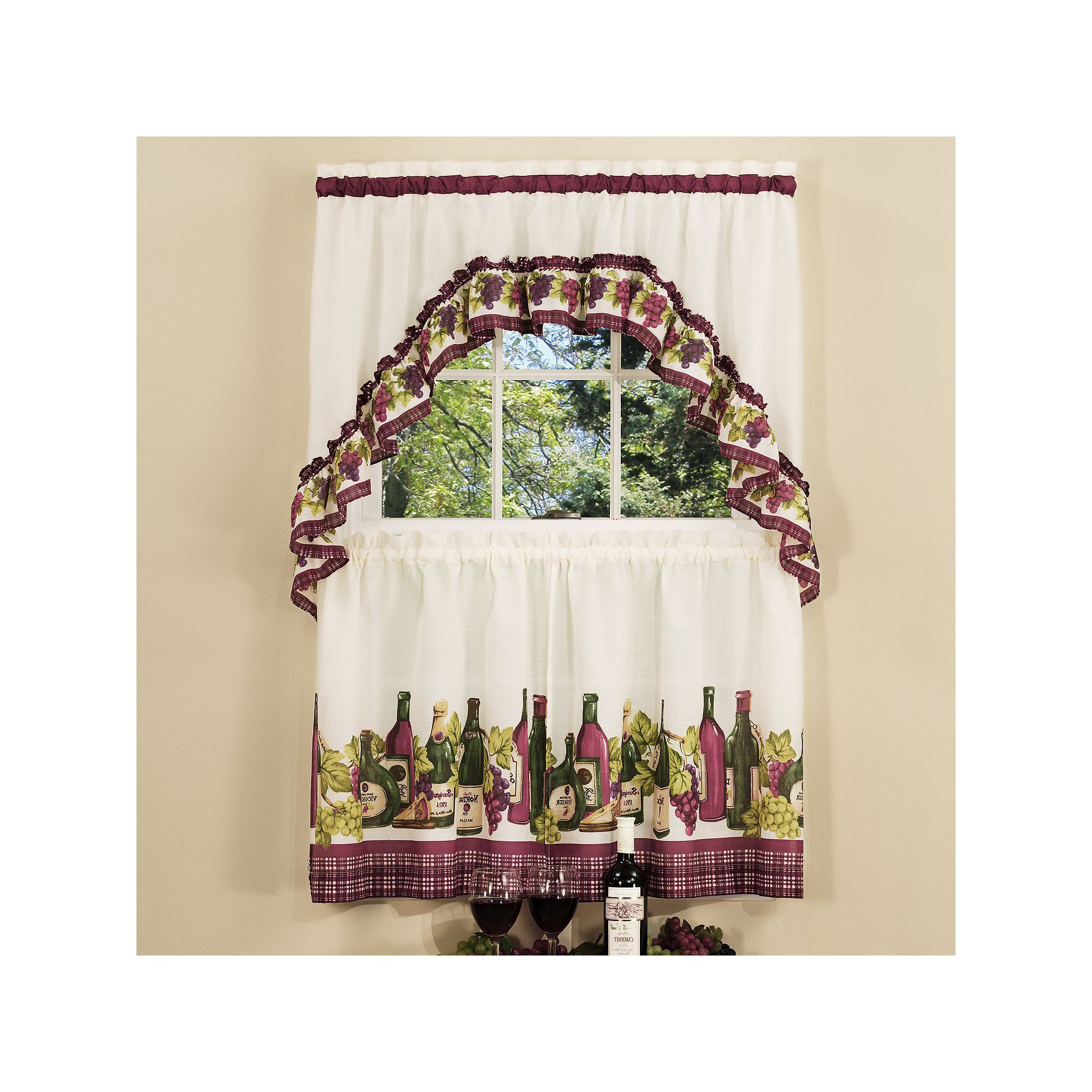 Featured Photo of Chardonnay Tier And Swag Kitchen Curtain Sets