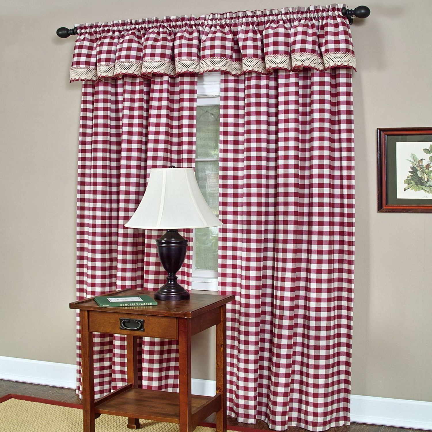 Best And Newest Classic Buffalo Check Window Panels Or Valances In 2019 Inside Burgundy Cotton Blend Classic Checkered Decorative Window Curtains (View 14 of 20)