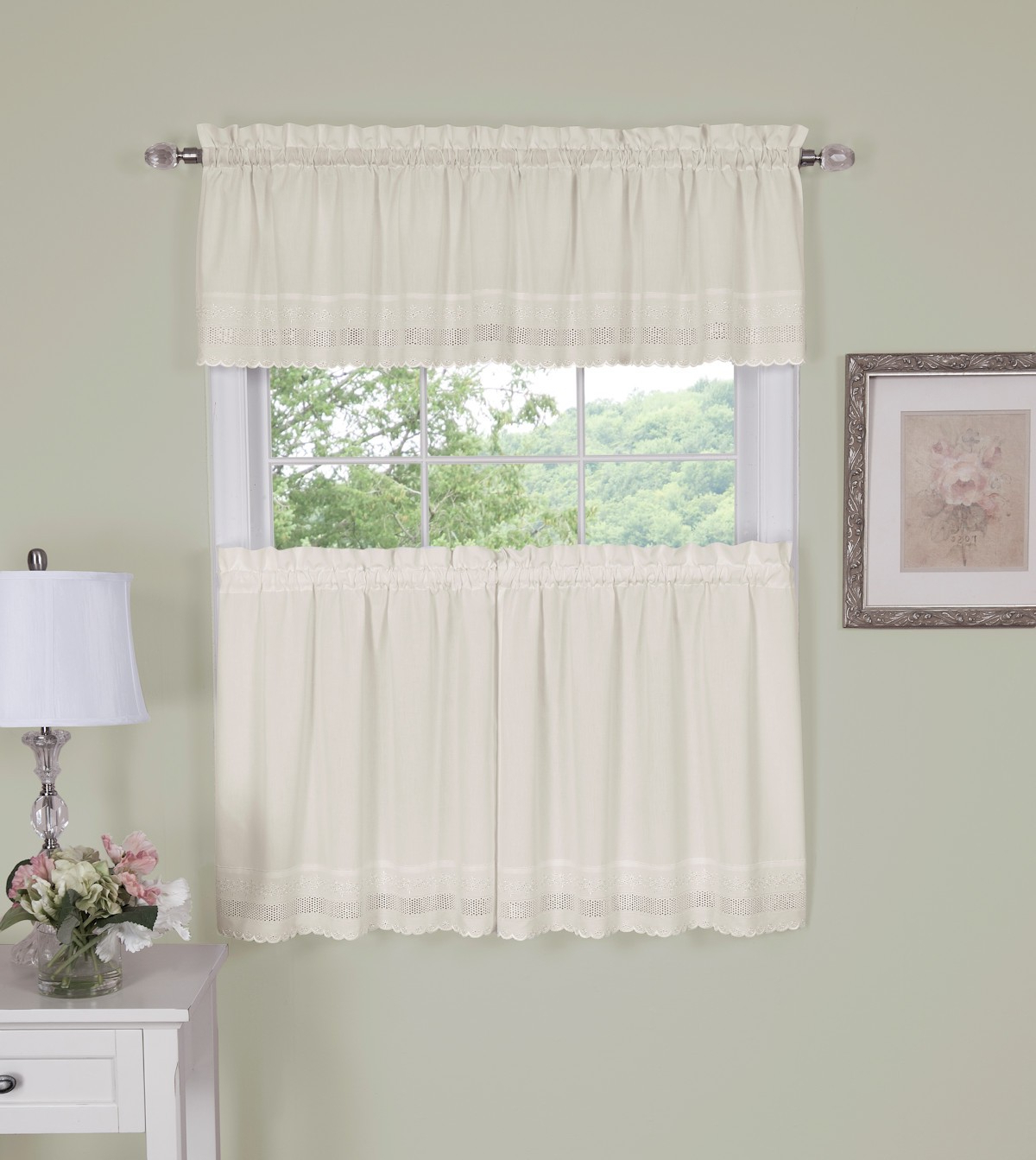 Best And Newest Danielle Embroidered Eyelet Tier Curtain – Port & Bay With Tailored Valance And Tier Curtains (View 7 of 20)