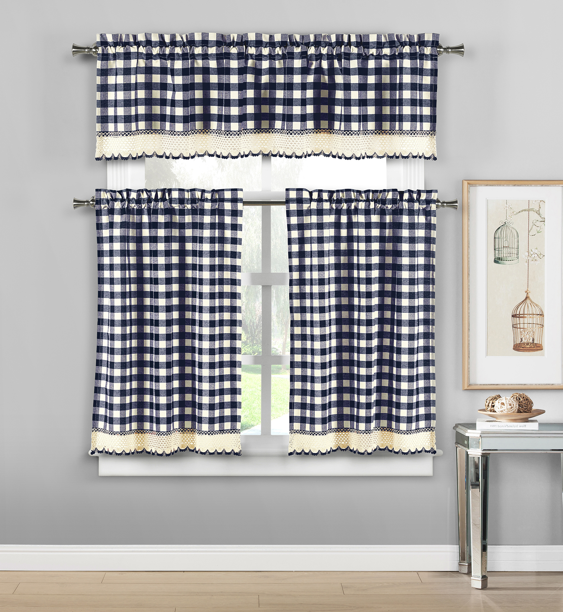 Best And Newest Details About Plaid Checkered Crochet Cotton Blend 3Pc Window Curtain  Kitchen Tier & Valance Regarding Cotton Blend Grey Kitchen Curtain Tiers (View 3 of 20)
