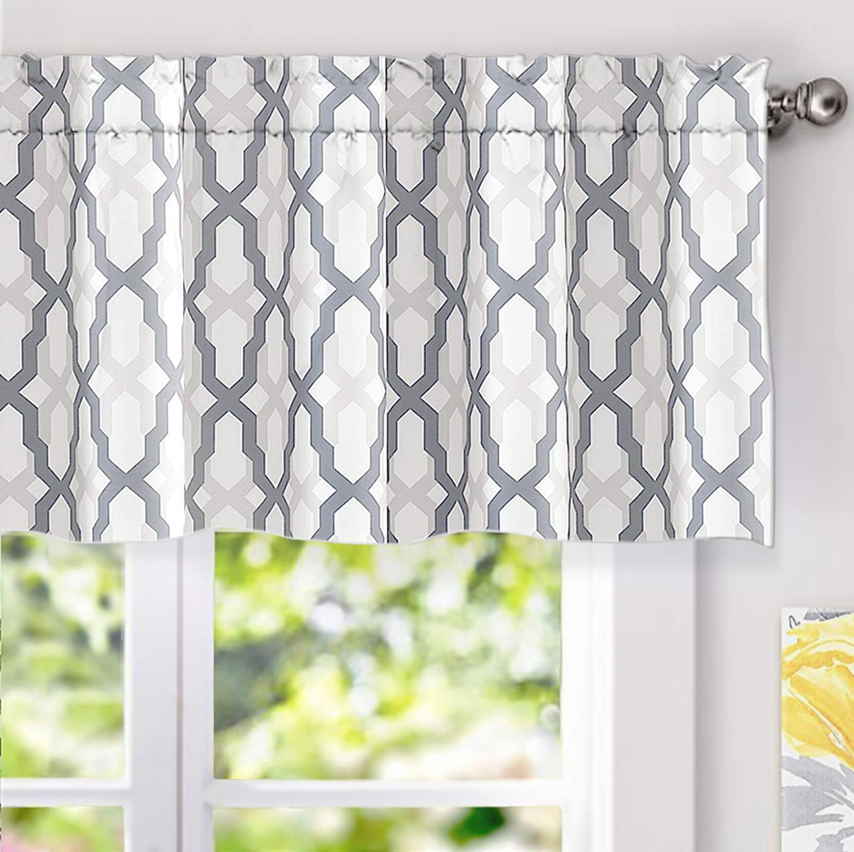 Best And Newest Driftaway Mason Geometric Trellis Pattern Window Curtain Valance Rod Pocket 52 Inch18 Inch Plus 2 Inch Header Gray For Trellis Pattern Window Valances (View 6 of 20)