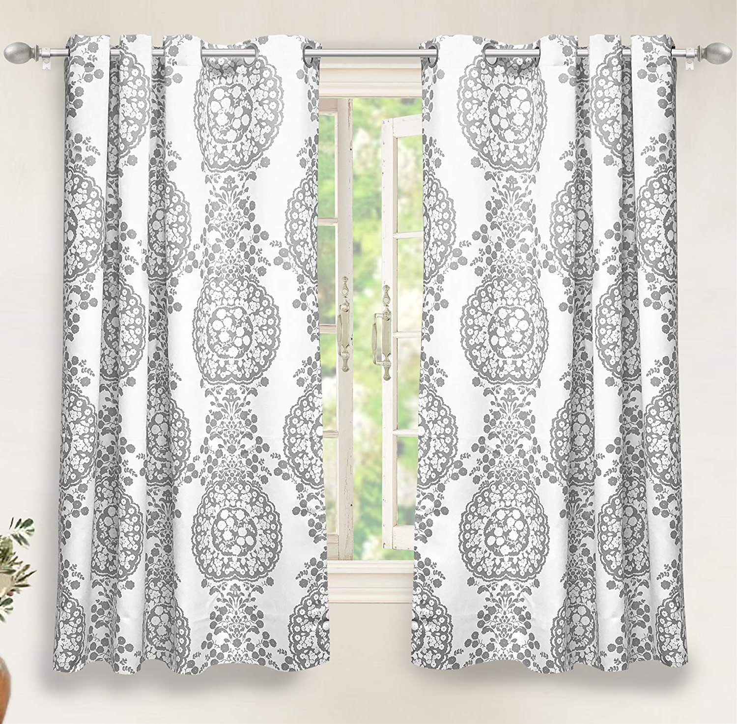 Best And Newest Driftaway Samantha Thermal Room Darkening Grommet Unlined Window Curtains Floral Damask Medallion Pattern 2 Panels Each 52 Inch63 Inch Gray Within Pastel Damask Printed Room Darkening Kitchen Tiers (View 5 of 20)