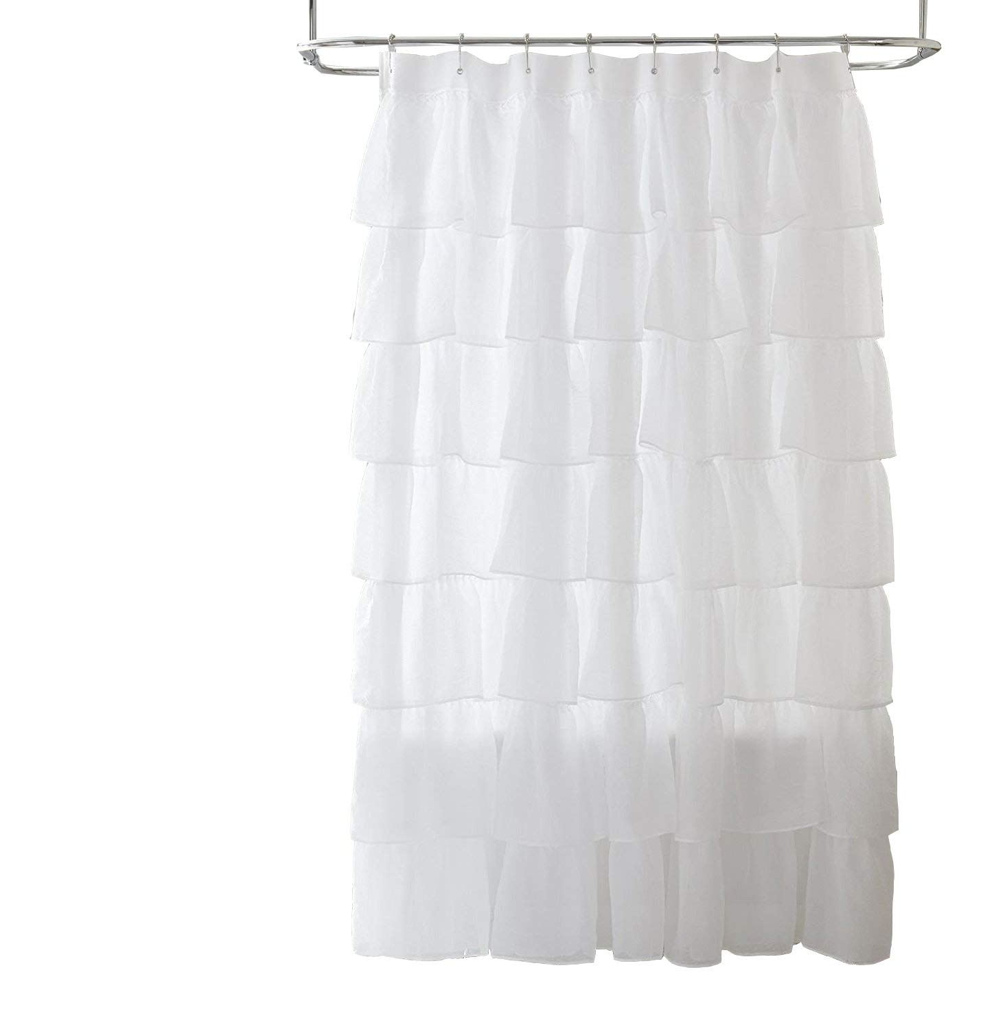 Best And Newest Elegant Crushed Voile Ruffle Window Curtain Pieces With Chezmoi Collection Crushed Voile Sheer Shabby Chic Ruffle Shower Curtain With Rings (white) (View 13 of 20)