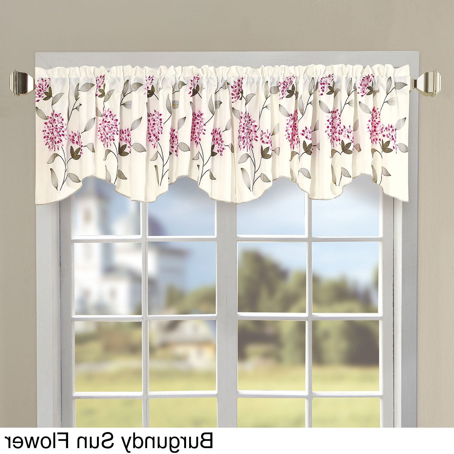 Best And Newest Embroidery Sunflower Valance With Traditional Tailored Window Curtains With Embroidered Yellow Sunflowers (View 8 of 20)
