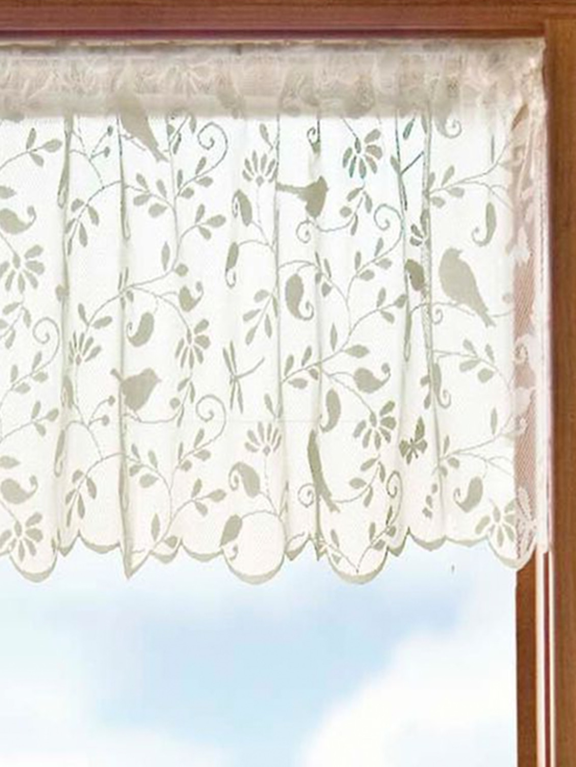 Best And Newest Ivory Knit Lace Bird Motif Window Curtain Pertaining To Swags Or Valance Ivory Knit Lace Bird Motif Kitchen Window (View 2 of 20)