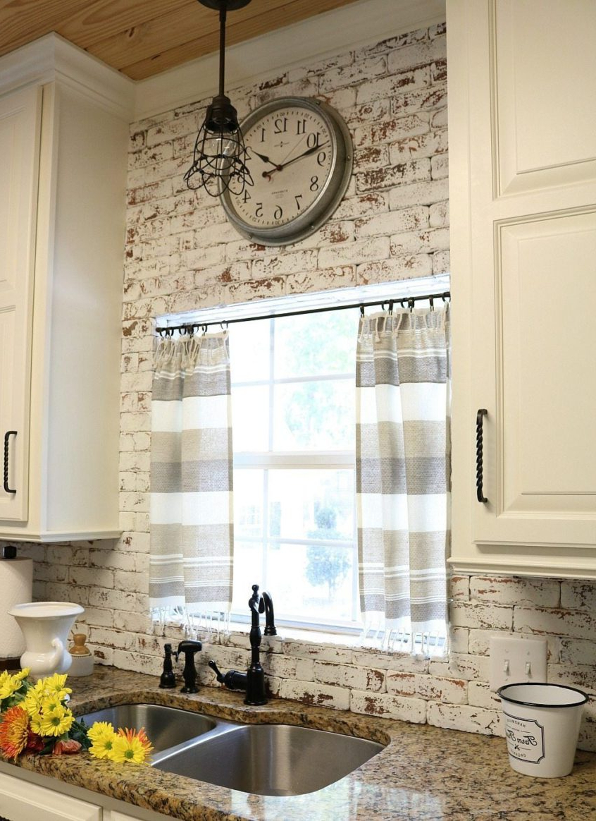 Best And Newest Kitchen: Dishtowel Curtains Farmhouse Kitchen Decor Modern For Modern Subtle Texture Solid White Kitchen Curtain Parts With Grommets Tier And Valance Options (View 17 of 20)