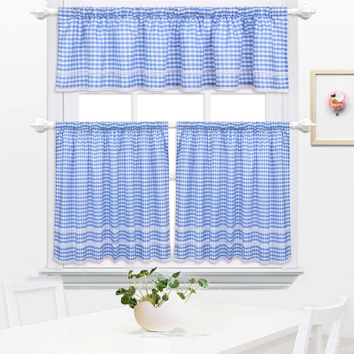 Best And Newest Kitchen Window Tier Sets Inside Dokot Plaid Country Window Cafe Curtain Tier And Valance Sets With Lace Crochet Border For Home Kitchen 3 Pieces Red (blue) (View 5 of 20)