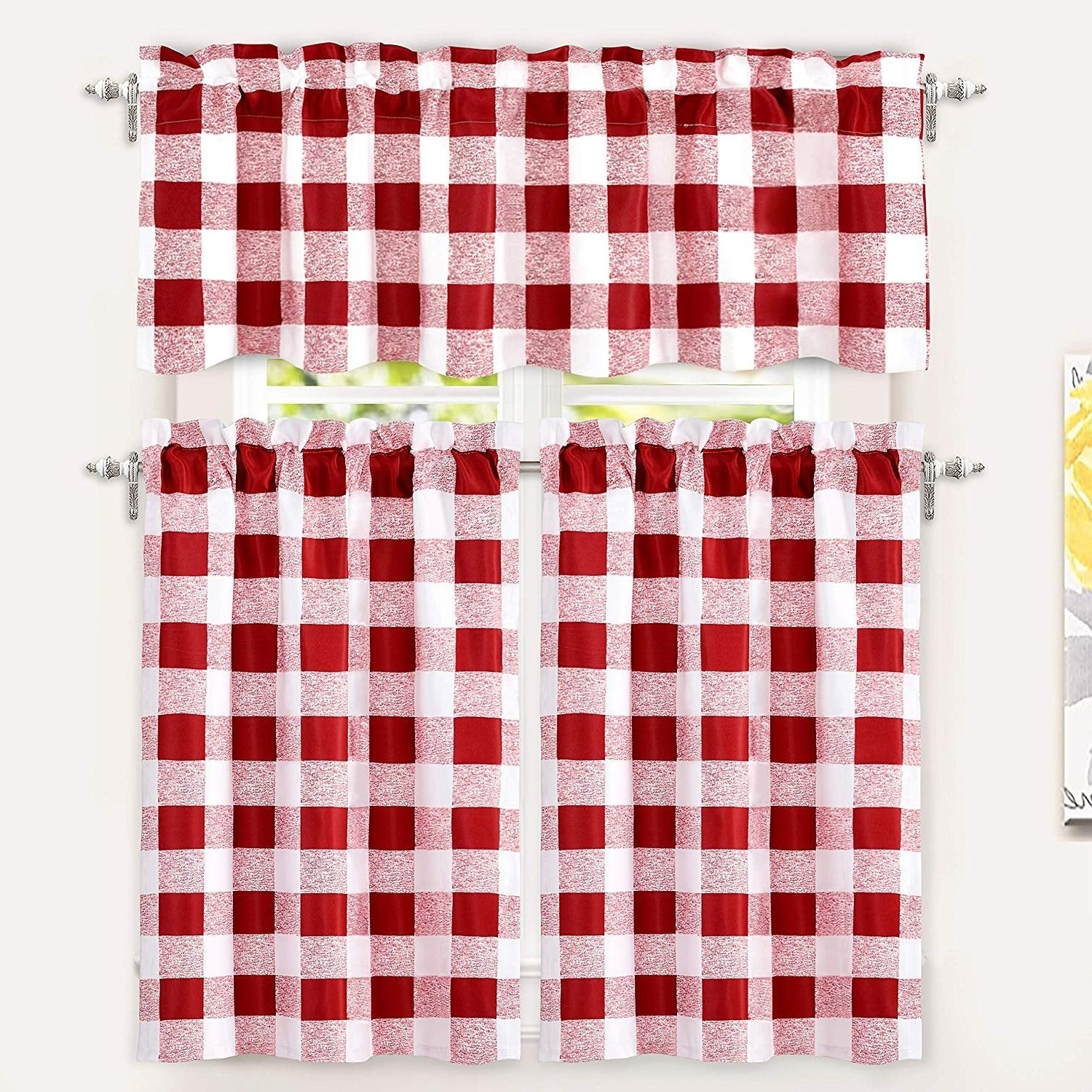 Best And Newest Lodge Plaid 3 Piece Kitchen Curtain Tier And Valance Sets Regarding Driftaway Buffalo Checker Plaid 3 Piece Kitchen Curtain Valance And Tiers  Set (Gallery 13 of 20)