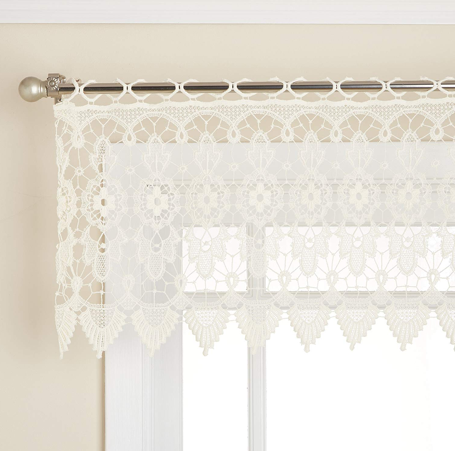 """Best And Newest Lorraine Home Fashions 01106 V 00010 Medallion Tailored Window Curtain Valance, 48"""" X 16"""", Ecru Regarding Medallion Window Curtain Valances (View 12 of 20)"""