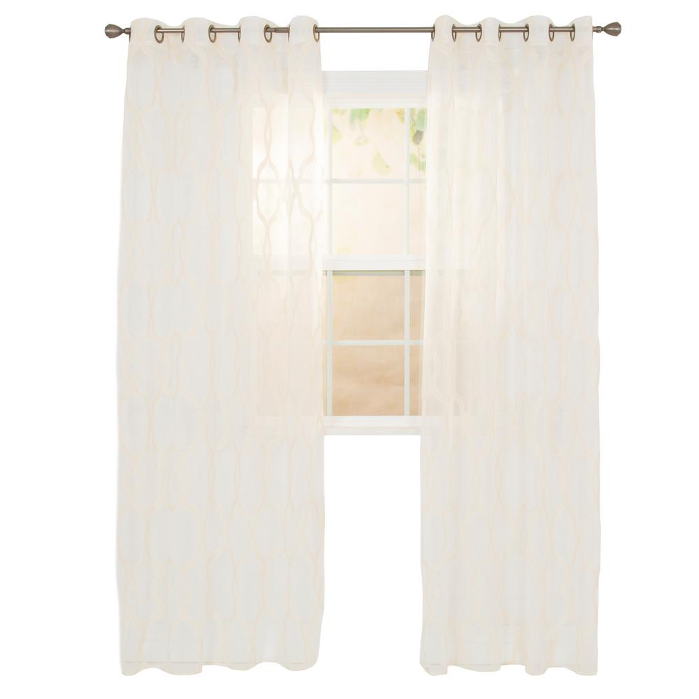 Best And Newest Luxury Collection Kitchen Tiers Inside Lavish Home Sheer Elisa Beige Polyester Embroidered Curtain (View 15 of 20)