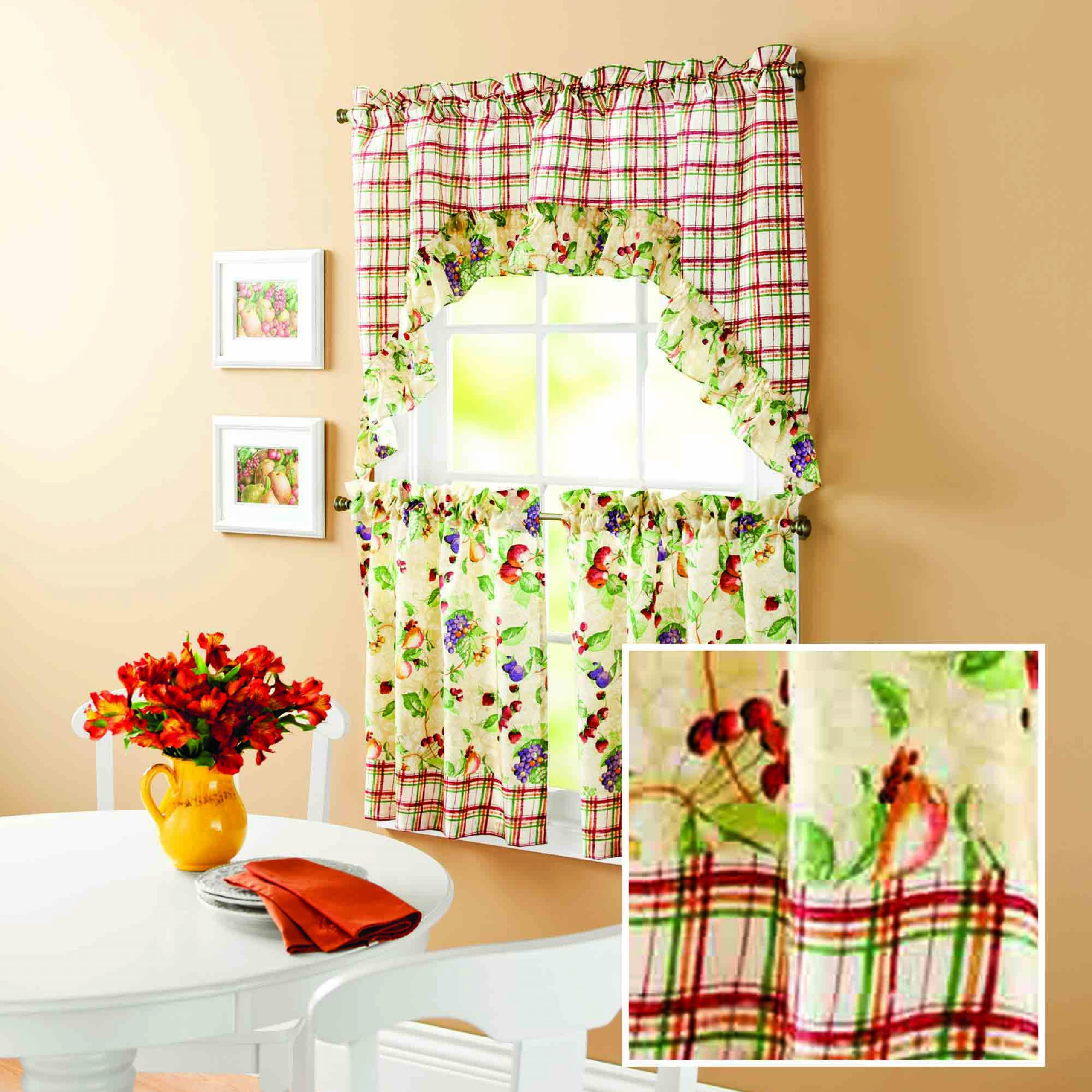 Best And Newest Mainstays Orchard Fruit Kitchen Curtain Set – Walmart With Apple Orchard Printed Kitchen Tier Sets (View 7 of 20)