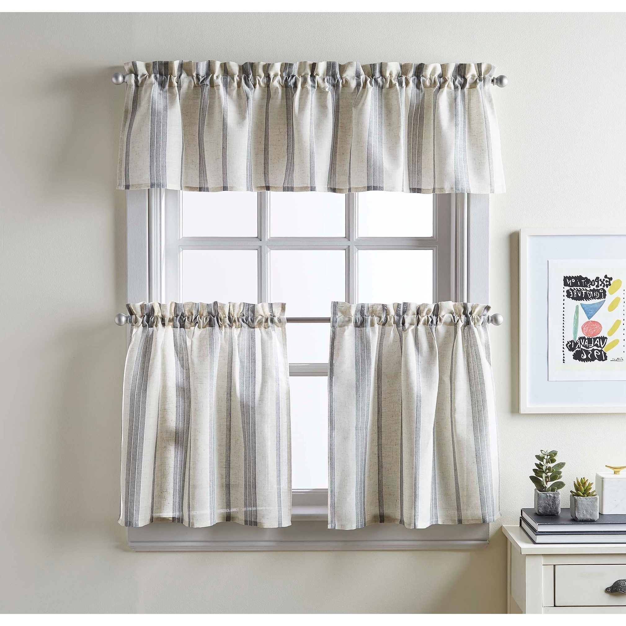 Best And Newest Mckenzie Valance And Tier Pair Curtain Collection (14 In Within Farmhouse Stripe Kitchen Tier Pairs (View 3 of 20)