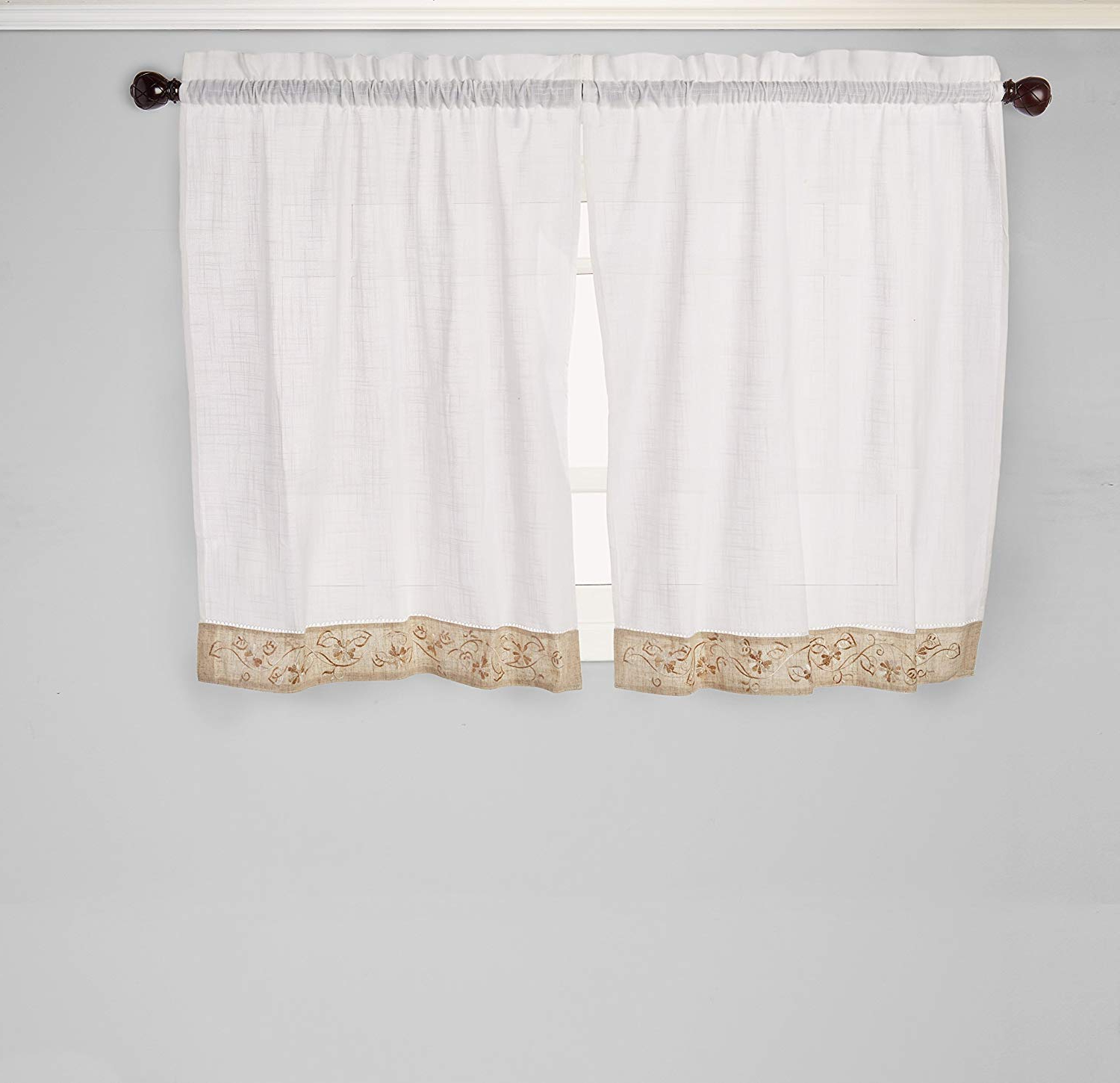 """Best And Newest Oakwood Linen Style Decorative Window Curtain Tier Sets Intended For Achim Home Furnishings Oakwood Tier Pair, 58 36 Inch, Natural, 58"""" X 36"""" (View 2 of 20)"""