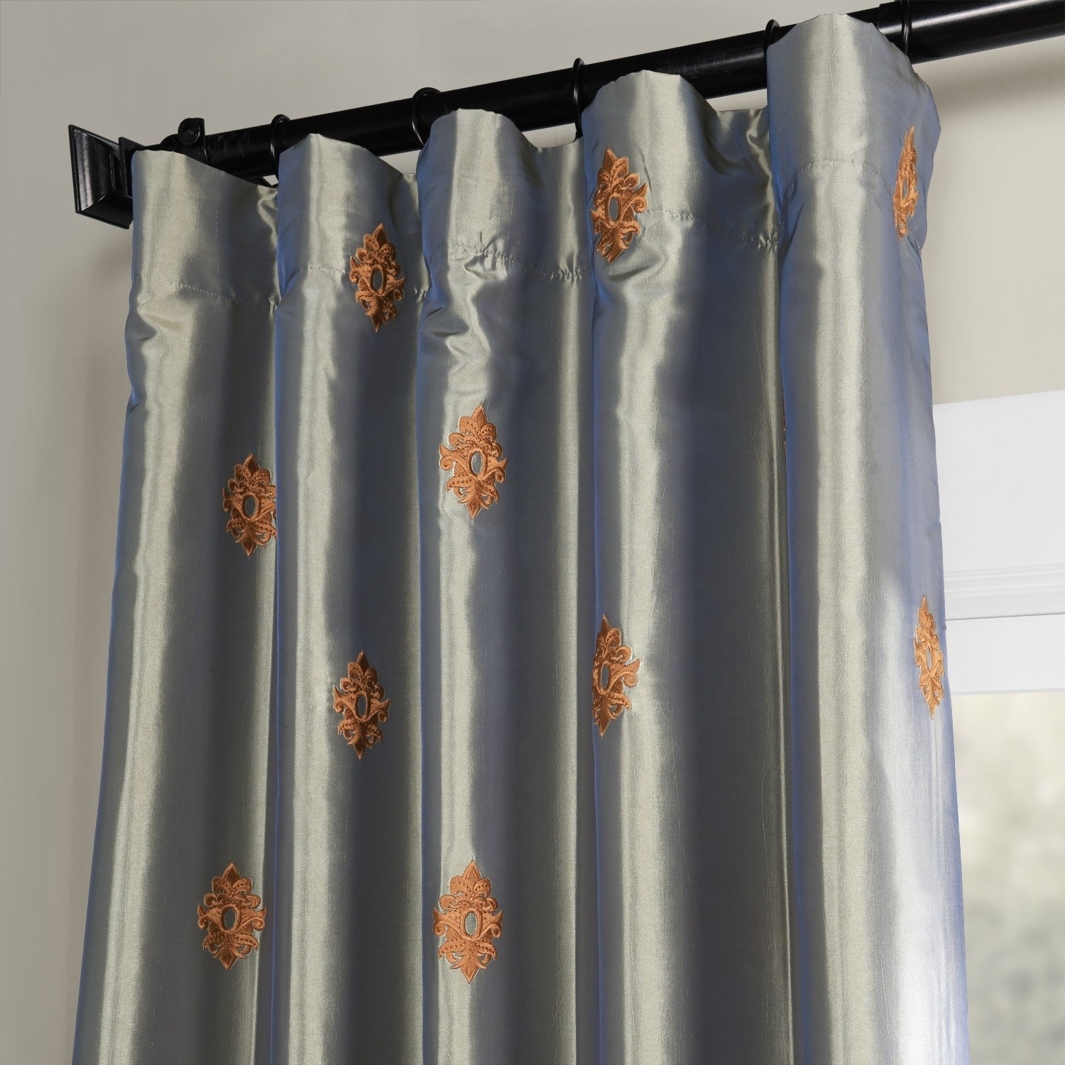 Best And Newest Porch & Den Lorentz Silver 24 Inch Tier Pairs For Details About Porch & Den Oberst Embroidered Taffeta Curtain Panel (View 16 of 20)