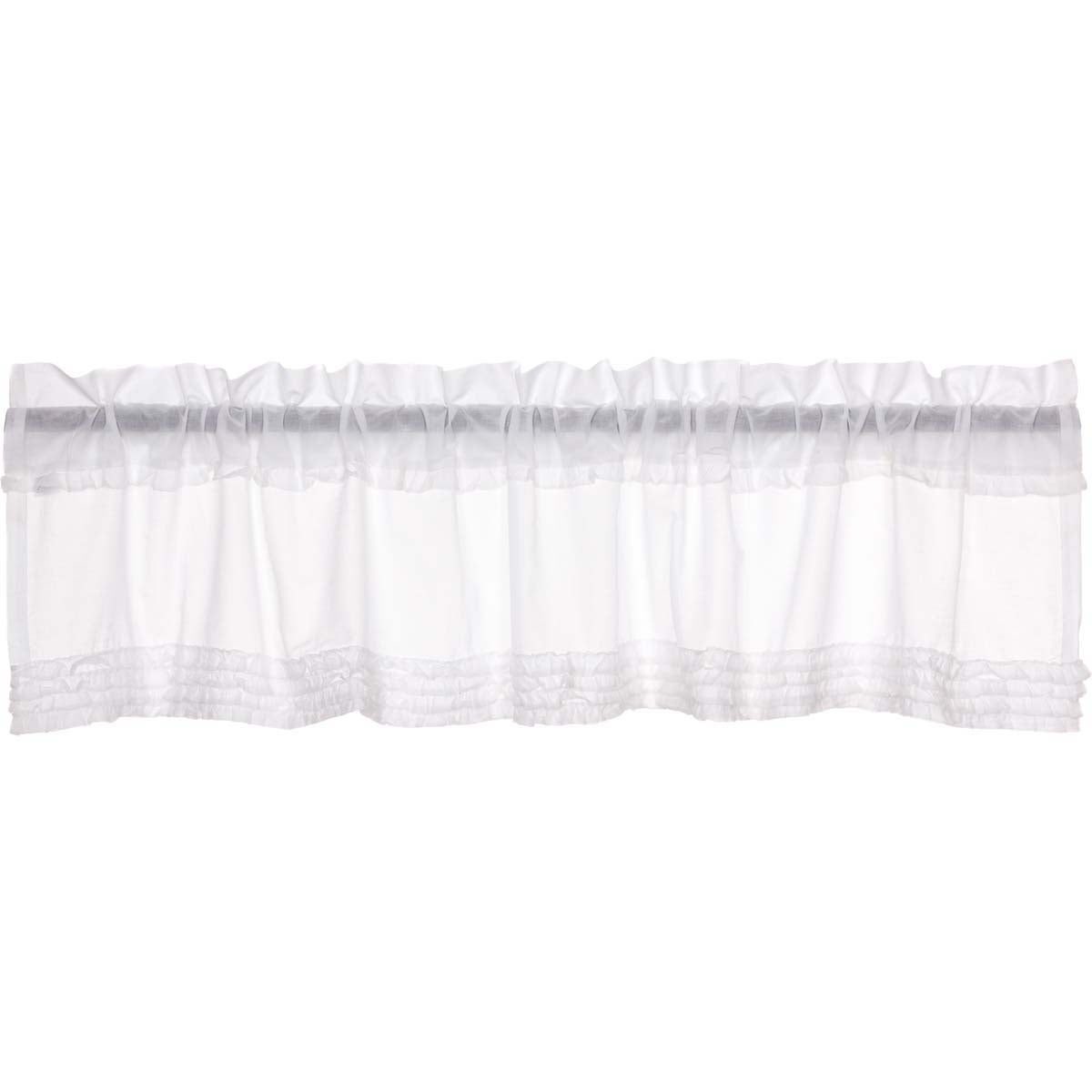 Best And Newest Rod Pocket Cotton Solid Color Ruched Ruffle Kitchen Curtains With White Farmhouse Kitchen Curtains Vhc White Ruffled Sheer Valance Rod Pocket Cotton Solid Color Ruffling Sheer (View 9 of 20)