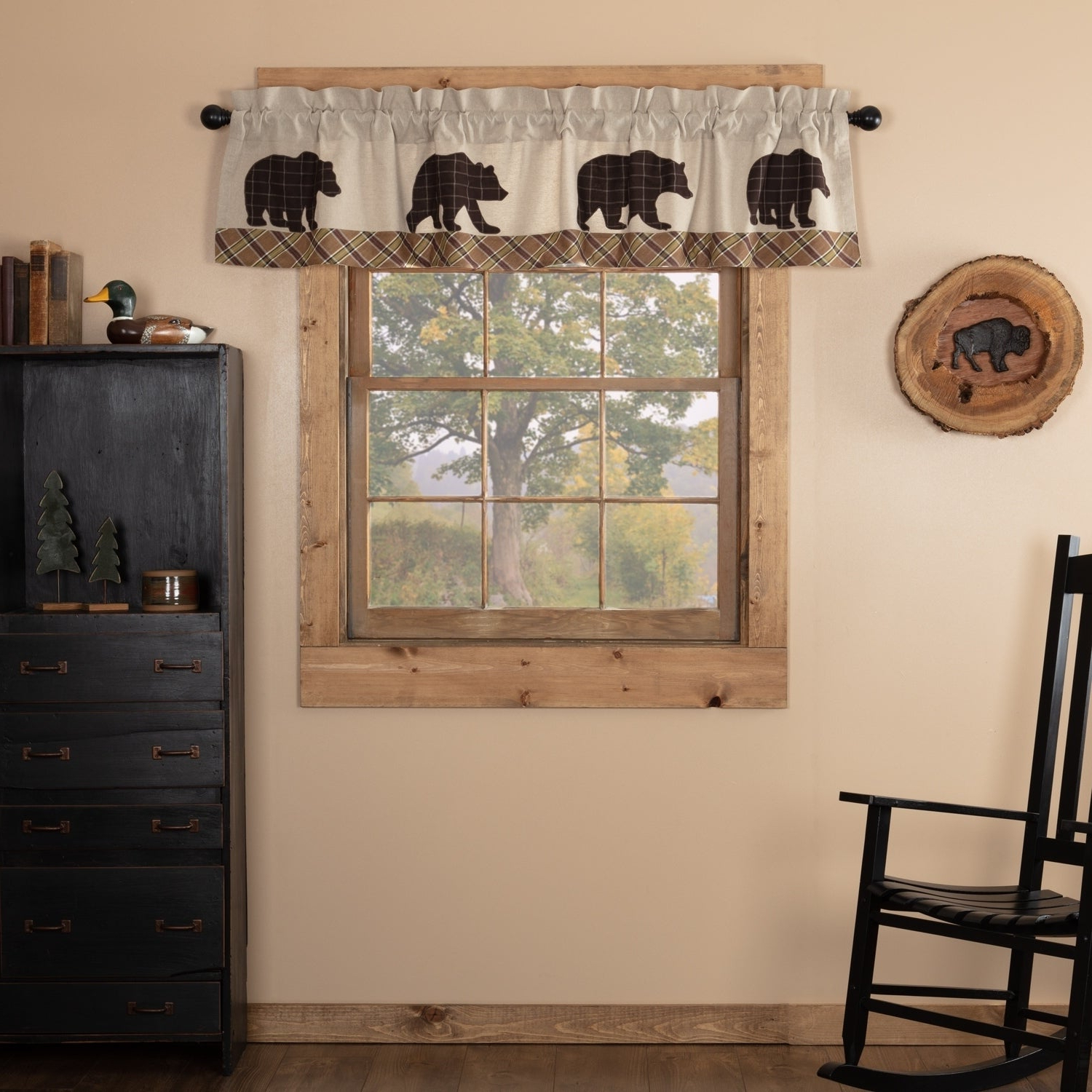 Best And Newest Rustic Kitchen Curtains With Tan Rustic Kitchen Curtains Vhc Wyatt Bear Valance Rod Pocket Cotton Nature Print Appliqued Chambray (View 2 of 20)