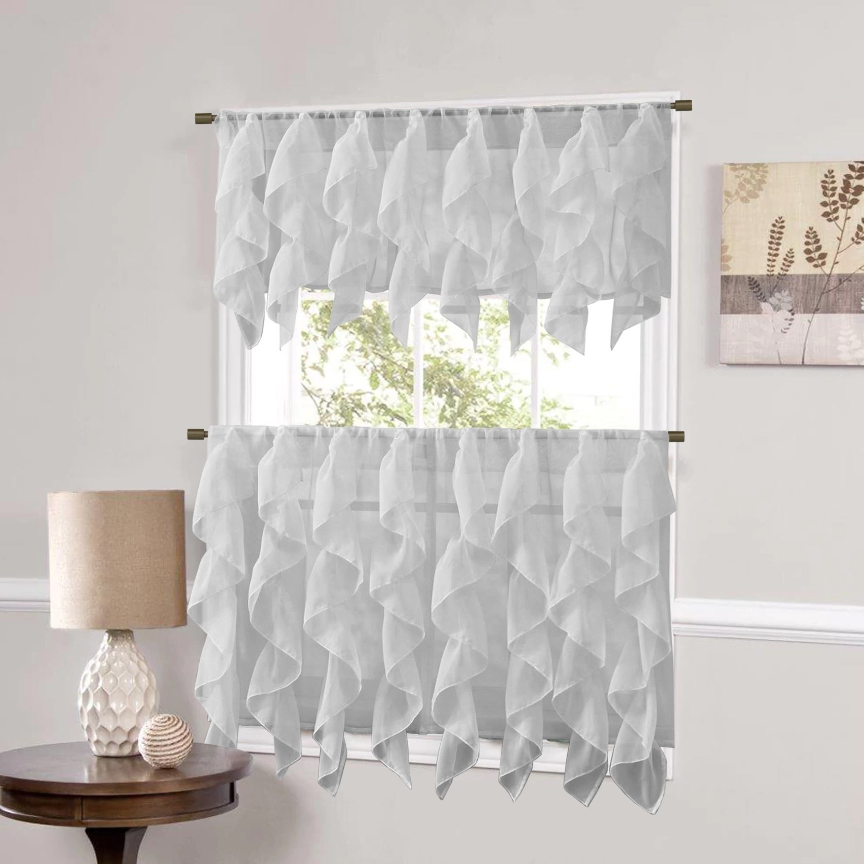 Best And Newest Sweet Home Collection Silver Vertical Ruffled Waterfall Valance And Curtain Tiers Throughout Silver Vertical Ruffled Waterfall Valance And Curtain Tiers (View 1 of 20)