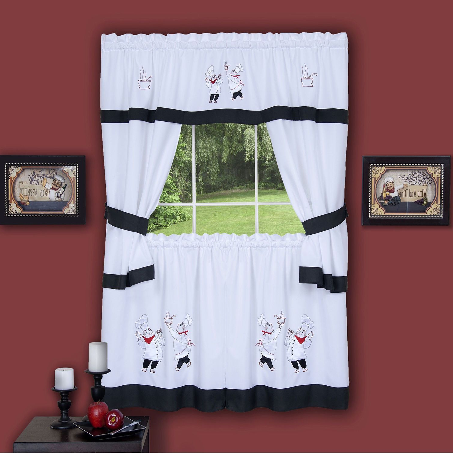 Best And Newest Top Of The Morning Printed Tailored Cottage Curtain Tier Sets For Achim Gourmet Window Curtain Cottage Set (gourmet 58 X (View 11 of 20)