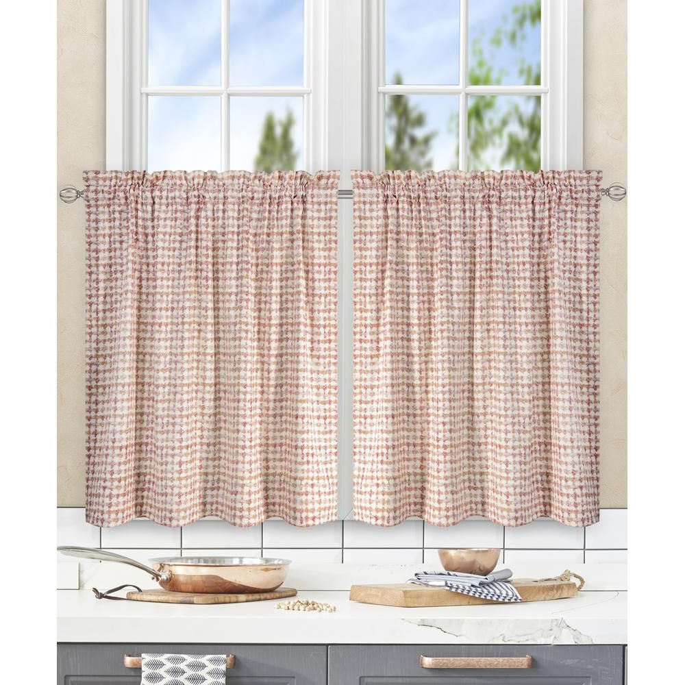 Best And Newest Twill 3 Piece Kitchen Curtain Tier Sets With Davins Clay Cotton Twill Tailored Tier Curtain – 56 In (View 16 of 20)