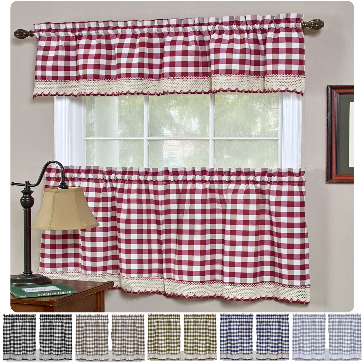 Best And Newest Window Curtain Tier And Valance Sets With Details About Window Curtain Tier Pair & Valance 3pc Set Checked Plaid Gingham Kitchen Panel (View 12 of 20)